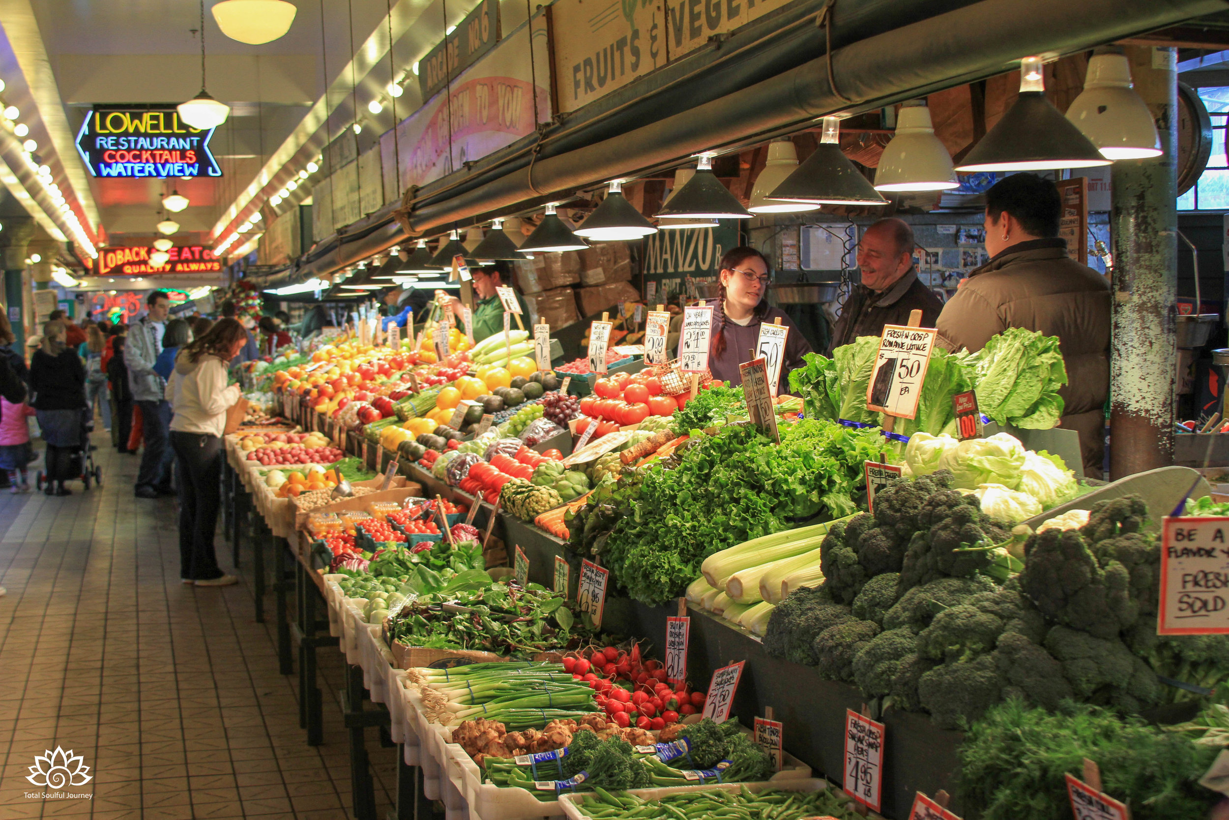Pike Place Market in Seattle is a colorful place to find fresh fruit, vegetables and seafood. Photo by Paul Garrett