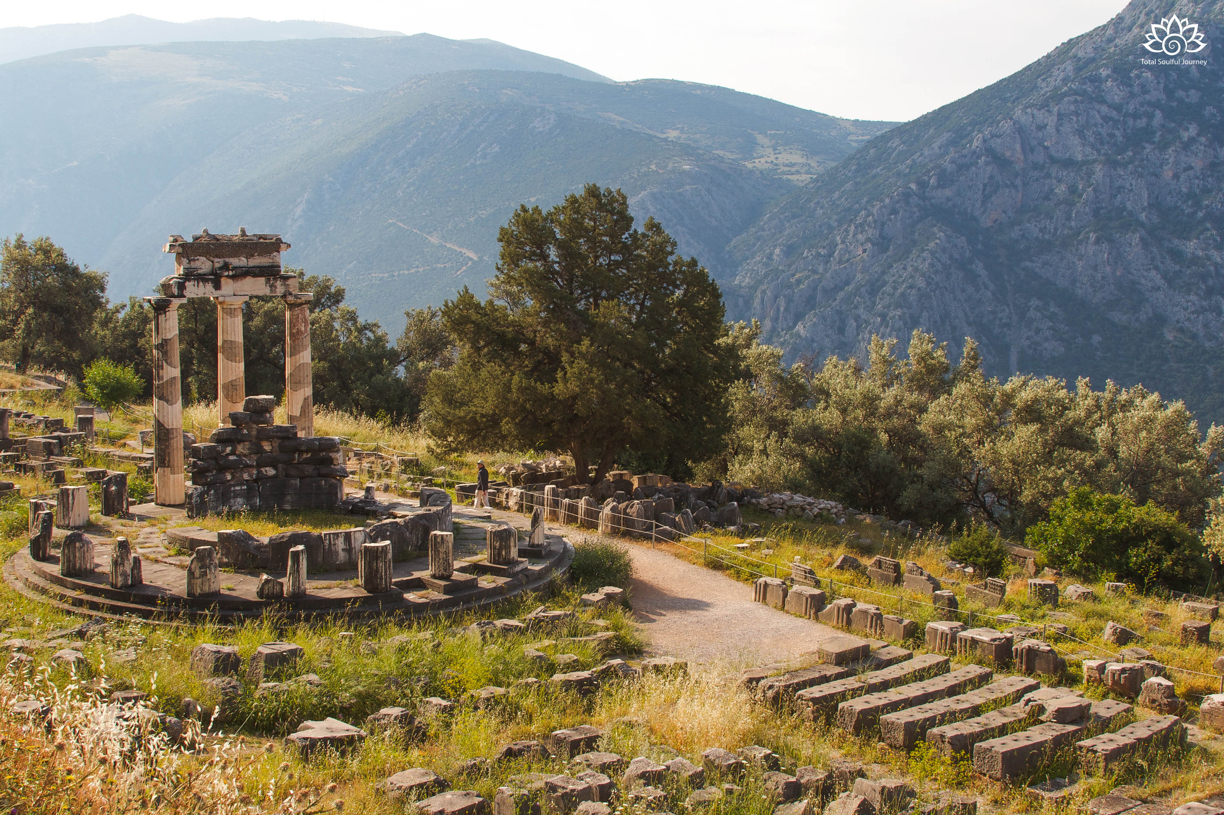 The remains of the sanctuary of Athena in Delphi,Greece. Photo by Paul Garrett