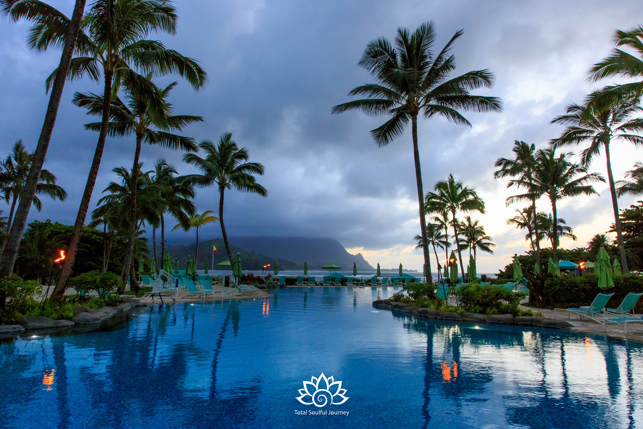 Sunset at the St. Regis Princeville Resort is incredible. Photography by Paul Garrett