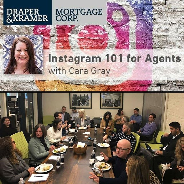 Loved presenting to this group at @dkmortgagecorp at their Erie office in Chicago yesterday. The presentation is Instagram 101 - specifically tailored for realtors. I can present anywhere in Chicagoland or even virtually. Send me a DM if you are interested. December/January are great times to get your marketing game together!! . #rePLANOLY @craig_achtzehn . Cheers to another successful lunch and learn! Thank you to everyone who attended our Instagram 101 for Agents presentation led by Instagram real estate marketing expert Cara Gray. Contact me today if you weren't able to attend but would like to learn how to kick off or improve your Instagram marketing strategy. . . . . . #mortgage #lender #chicagolender #chicagorealestate #instagram #realestate #realtor #chicagomortgage #chicago  #rivernorthchicago #realestateagent #realestatemarketing #realestatetips #realestateeducation #socialmediarealestate #realestatesocialmedia #dkmc #draperandkramermortgagecorp #kw #atproperties #koenigrubloff #dreamtownrealty #luxurylivingchicagorealty #menardjohnson