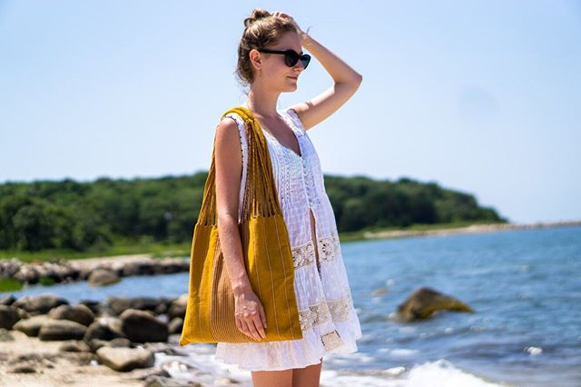 Looking towards the weekend like 😎 . . 🛍 Made in Guatemala with naturally dyed 100% cotton thread, woven on a back strap loom and braided by hand (6+ hours). . 🏖 Cape Cod. 💁🏼‍♀️ @janiegaro