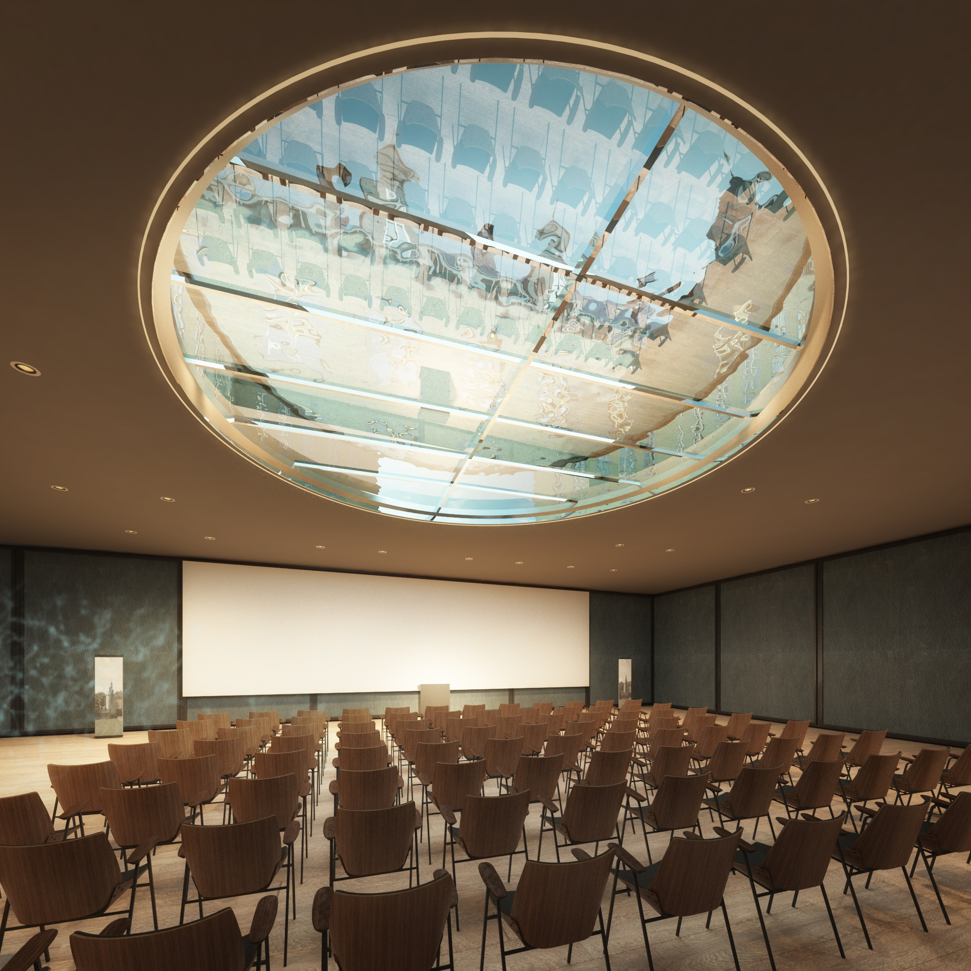 the multifunctional hall configured for a presentation