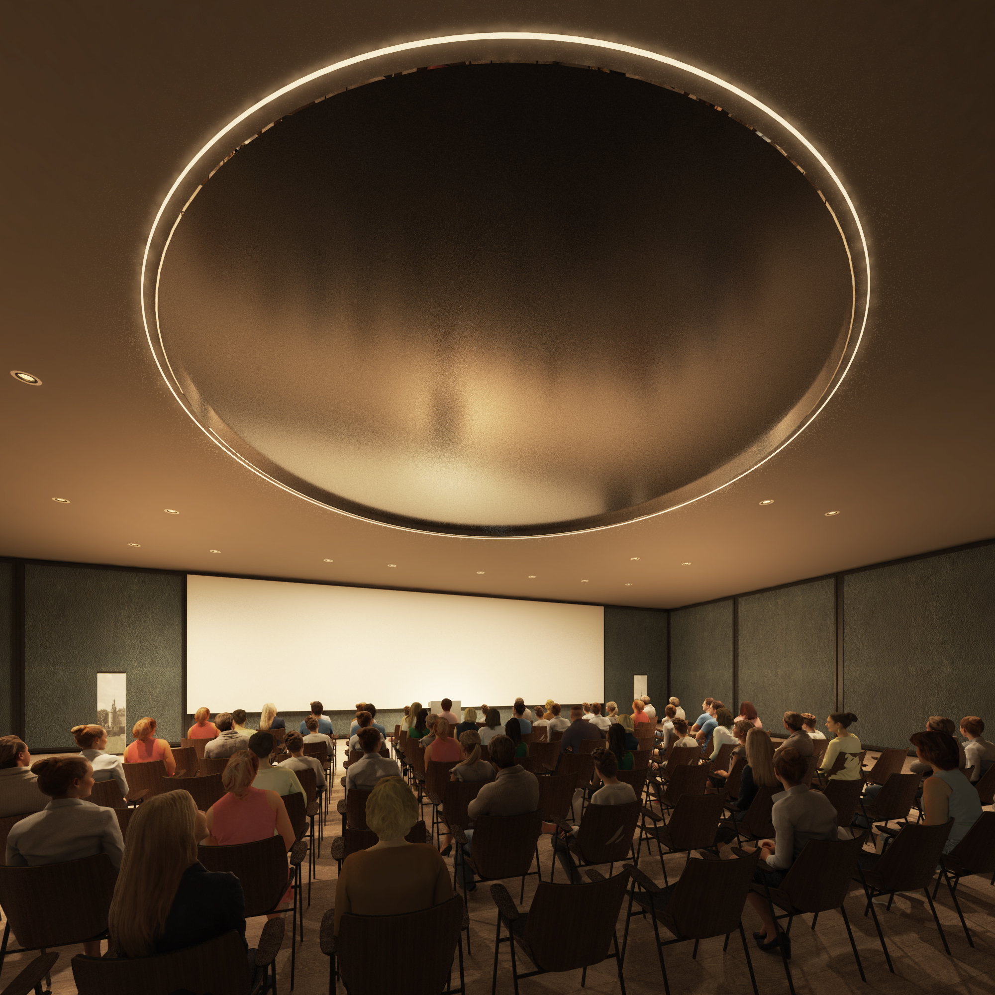 the blinded multifunctional hall as a movie theatre