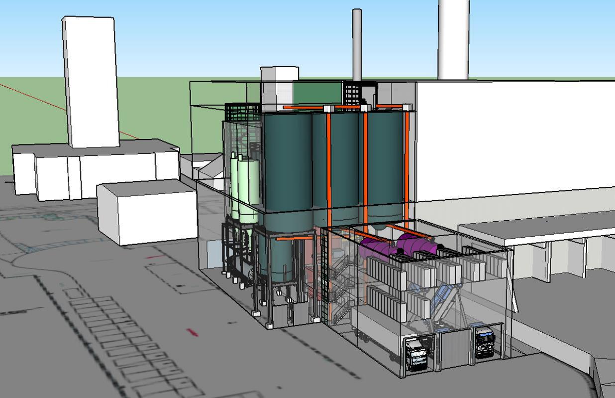 Bei Strategie 4 würde die neue Klärschlammverbrennung auf dem Gelände der MVA an der Immenburgstraße errichtet, rechts im Bild die MVA, im Hintergrund ist das Heizkraftwerk Nord angedeutet; Quelle: Born Ermel Ingenieure,  MVA-Machbarkeitsstudie (Anlagen)