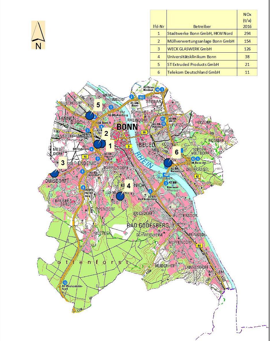Quelle: Bezirksregierung Köln, Luftreinhalteplan für das Stadtgebiet Bonn, 2. Fortschreibung 2019 – Entwurf, Oktober 2018, Abb. 4, S. 23