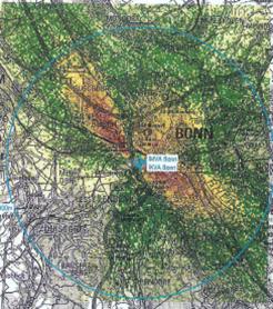 - Quelle: Ramm Ingenieur GmbH, Wuppertal 2018; Kurzfassung (ohne Titel) eines Gutachtens im Auftrag der MVA Bonn u.a. zu Ausbreitungsberechnungen für Luftschadstoffe im Zusammenhang mit der Neuerrichtung einer Klärschlammverbrennungsanlage in Bonn, S. 20; Szenario 2 – KVA an der MVA, Konzentration Dioxine