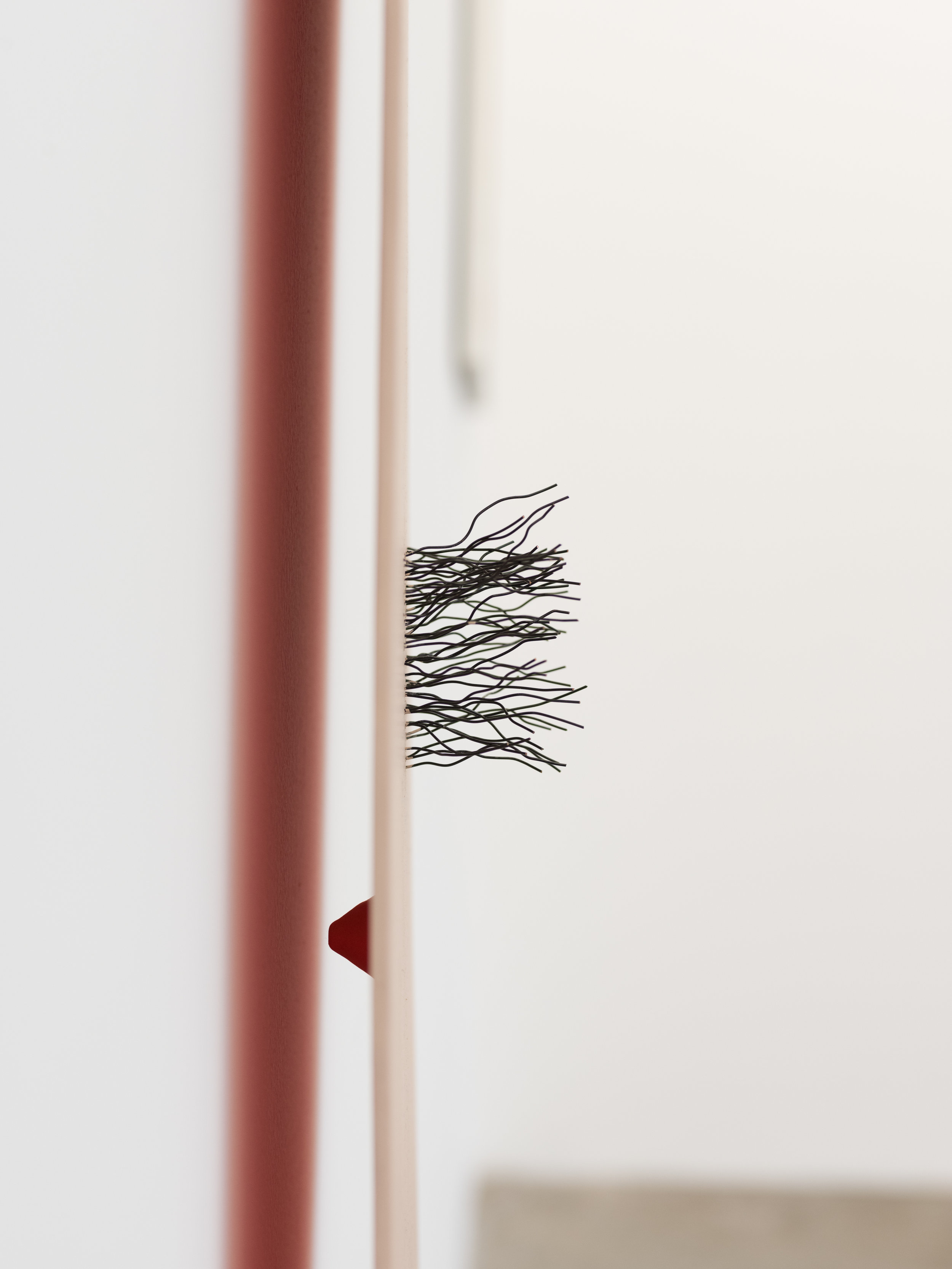 Stephanie Rohlfs   Long Long (detail) , 2018  Wood, paint, wire, epoxy, clay  56 x 13 x 7 in