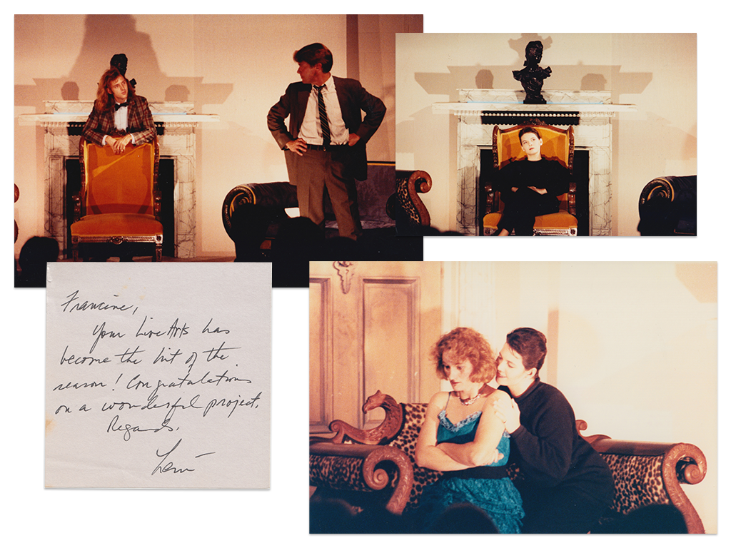 Production photos and an early post-it note review of Live Arts' first-ever production, No Exit , in 1990.