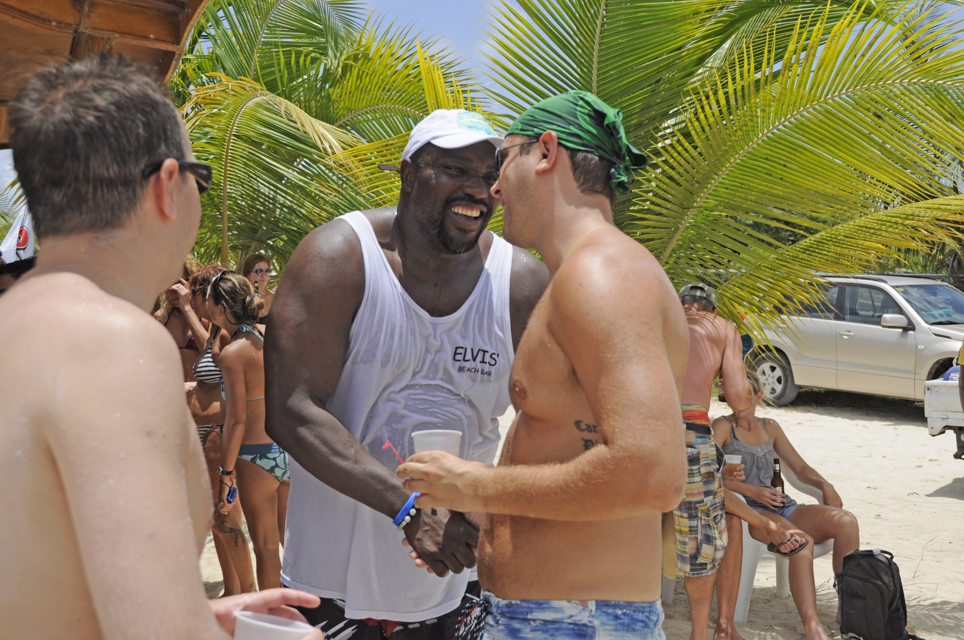 Jeff meeting Warren Sapp in Anguila