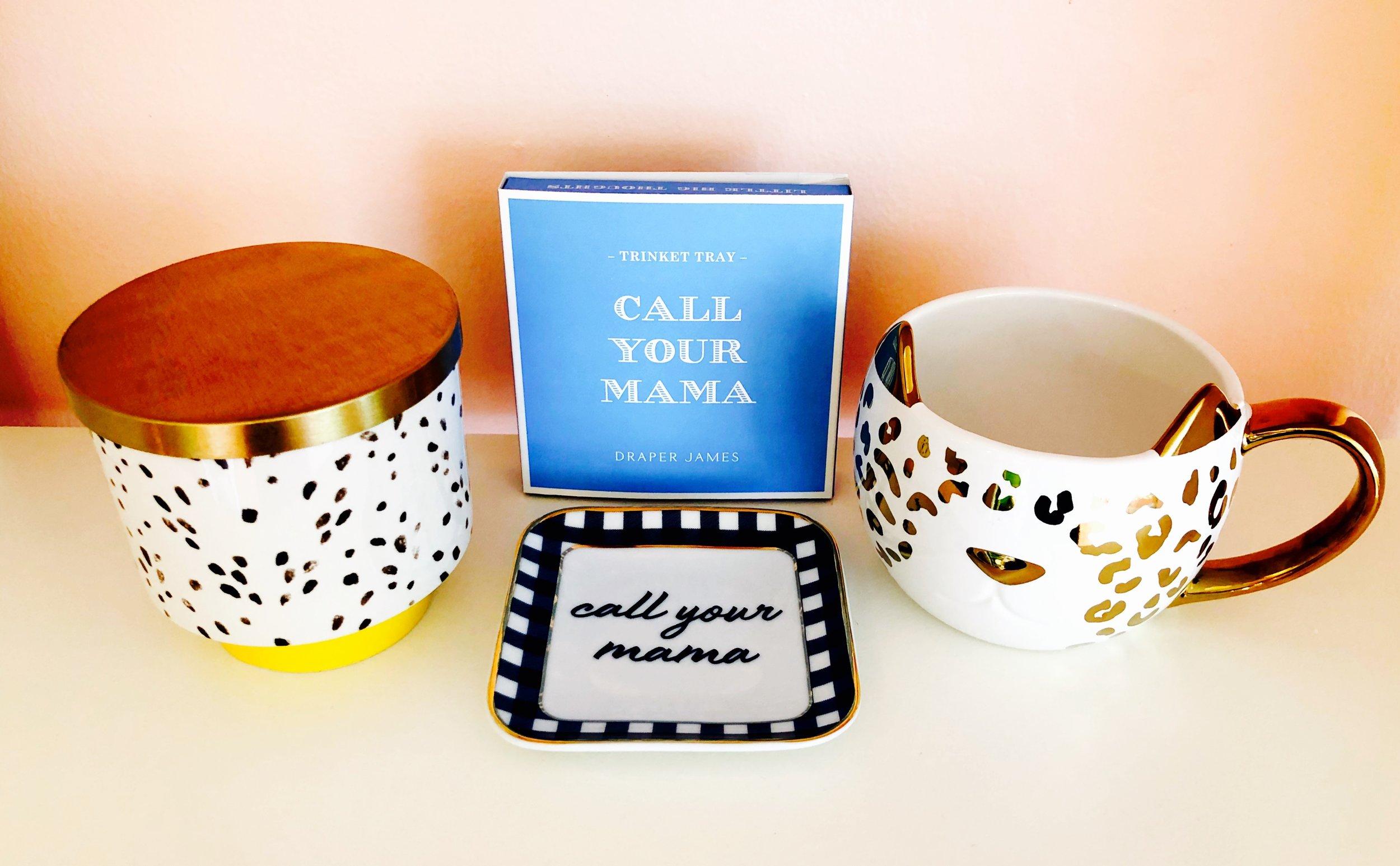 Call Your Mama trinket dish from Draper James, $20. Cat mug, $20. Illume ceramic candle, $28.