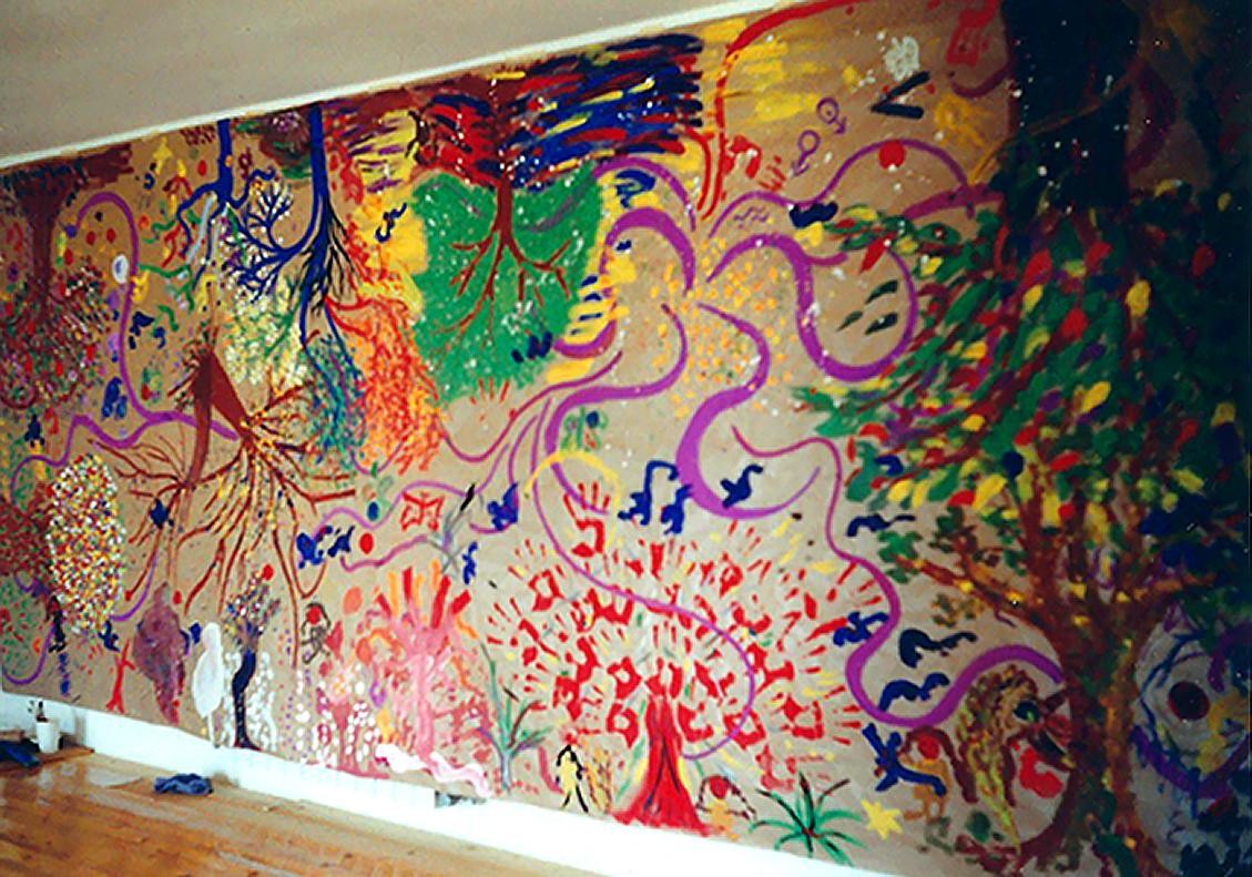 Dieses riesige Wandgemälde wurde von 21 Teilnehmern einer Gruppensitzung geschaffen