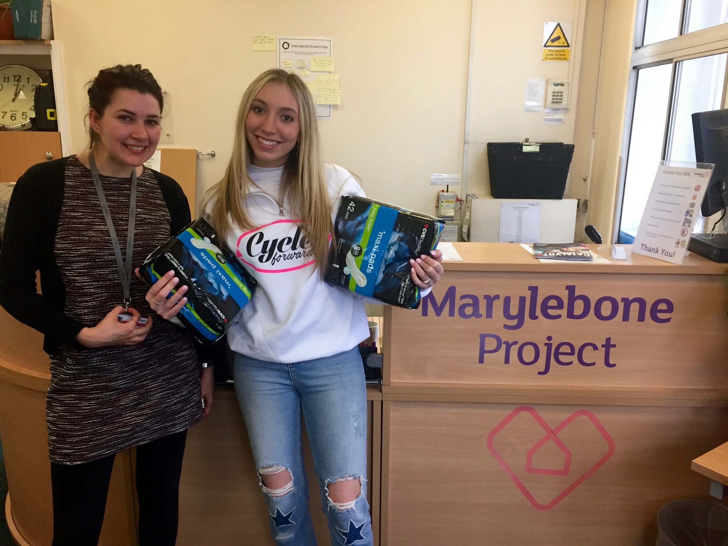 Sophie with a donation at the Marylebone Project in London.