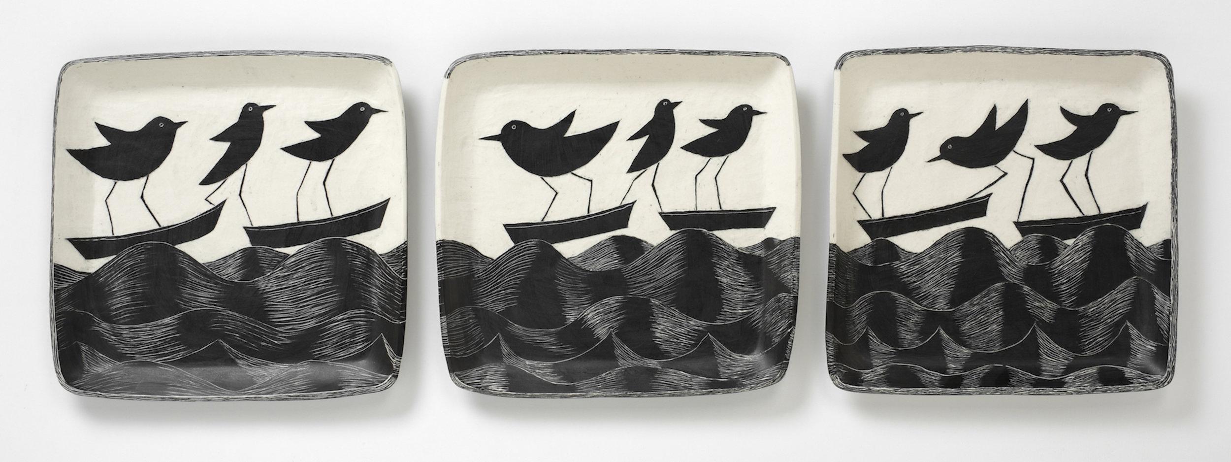 Land Birds at Sea, Triptych 2017