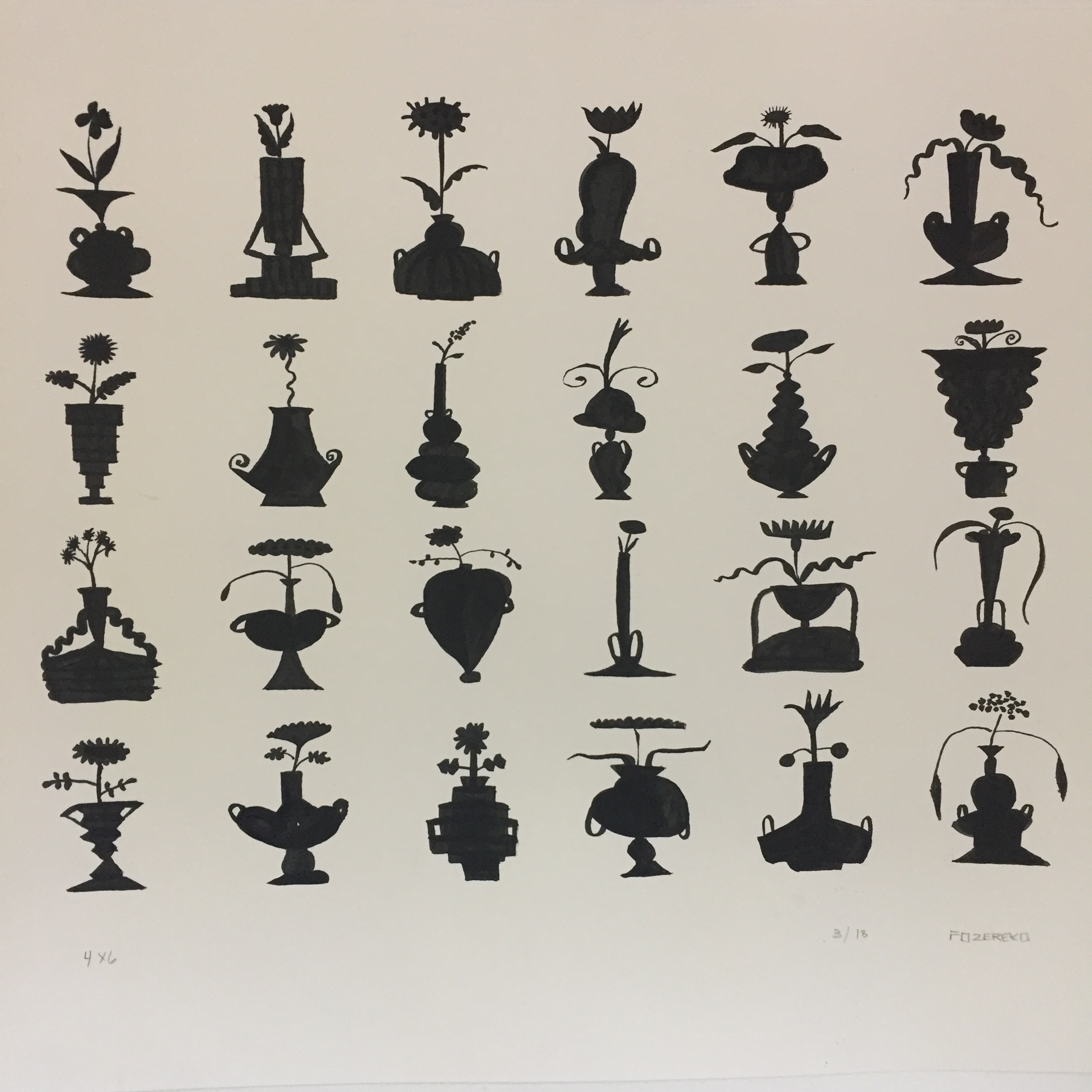 Pen and ink study of imaginary vessels