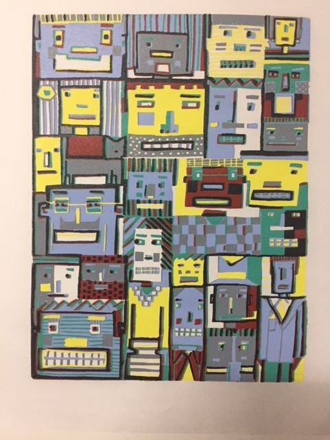 "I just finished a new ""Blockheads"" linocut. I am getting better at the process of lining up each new layer. I enjoy using the waste block technique but one pays a heavy price if you slip up in lining up the layers. This new ""Blockheads"" is better technically than the first one and I am looking forward to the next one in which I completely use a printing technique using Quoins to lock the block in place for the entire printmaking session.  This print is 9x16 and five layers of color."