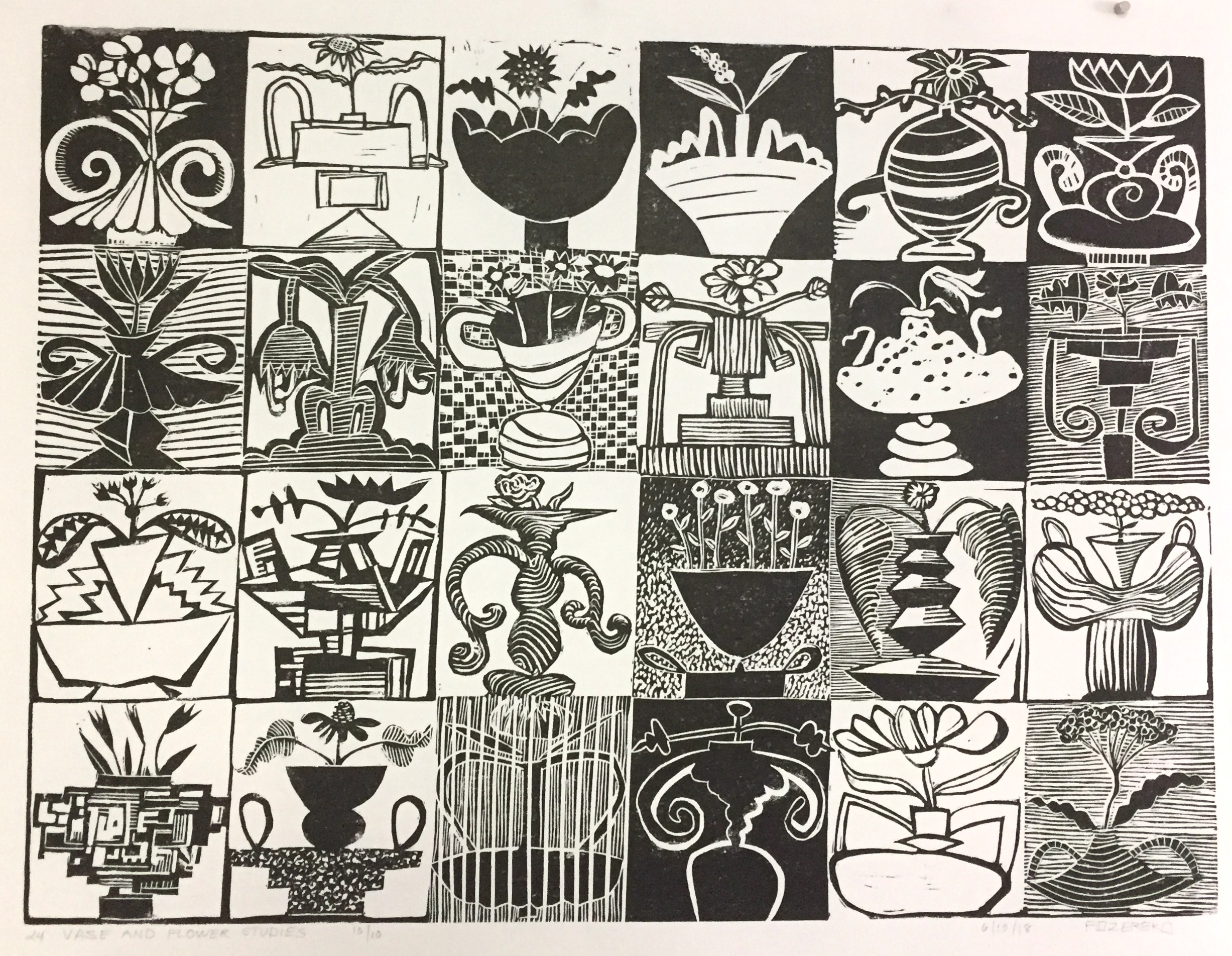 "This is my latest linocut entitled ""24 Studies of Vases and Flowers"". It is 18"" x 24"" , printed in an edition of ten."