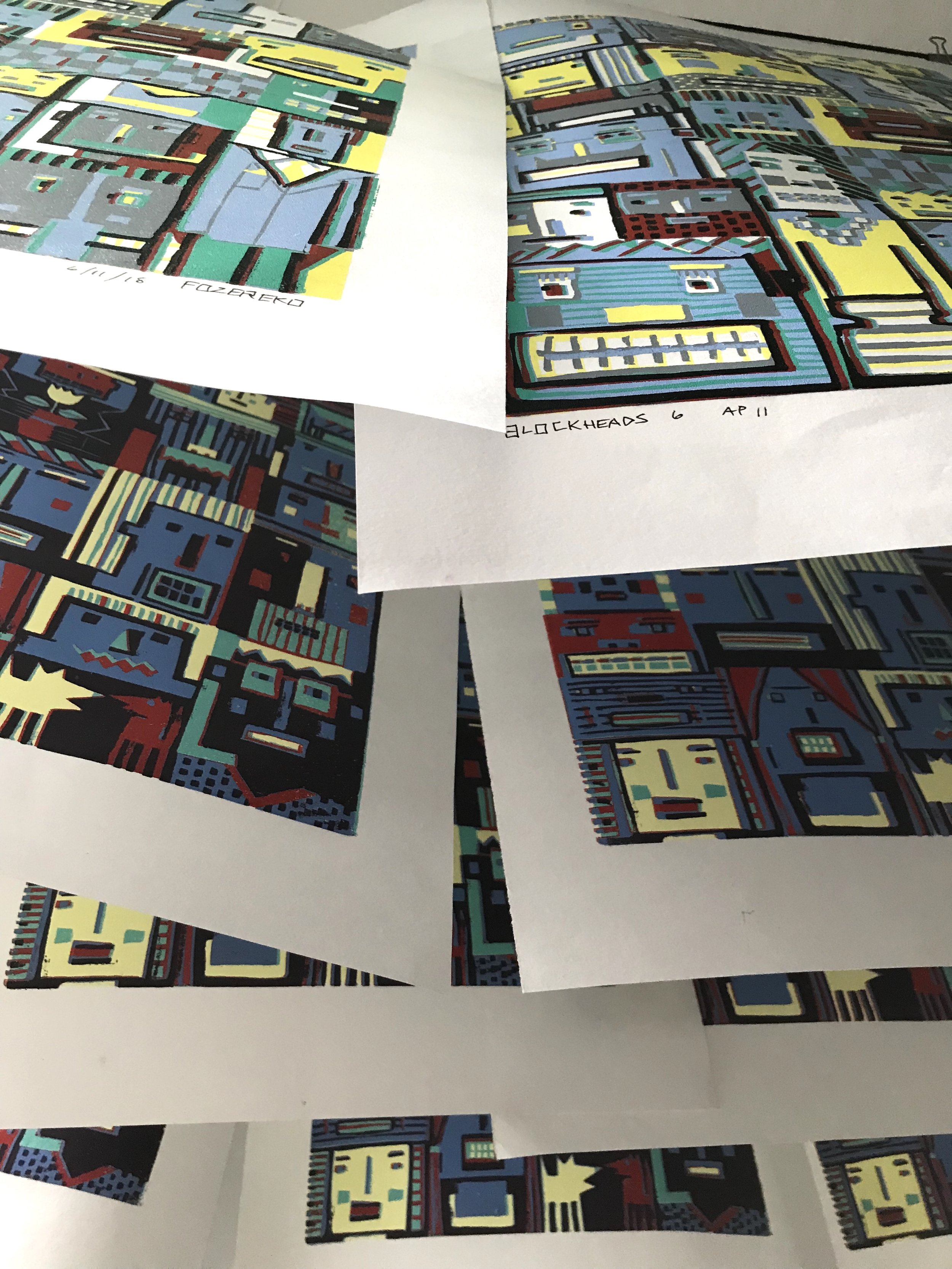 "Taken this morning in the Office room - an under-view of a laundry line of drying prints. I used Caligo inks on these prints and have at least five layers/passes on each, consequently these are taking forever to dry completely. They will remain in this situation until they aren't tacky to the touch anymore. Don't know when that will be but currently they are out of the way and I can ignore them.  The prints don't stain or smear when touched but they ""stick"" together when stacked on top of each other, making a very scary noise when separated. This happens even with a separator sheet in between each print."