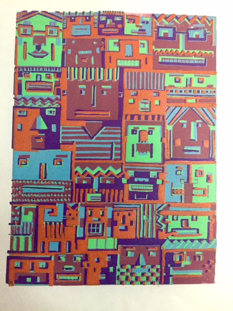 "Latest version of the next Blockheads. I am getting the registration I want in this print but I notice that some of the earlier prints in the series were more easily read and understood with less activity. I am beginning a new print in oil ink and will see if I can can color/accuracy of registration/ less activity to come together. Some similar information: edition of @ twelve and 12"" x 16""."