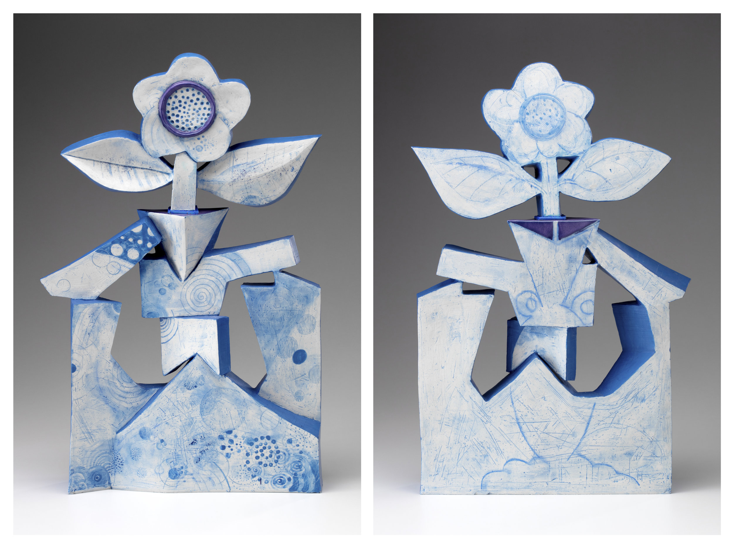 Front and Back images of Imaginary Vase #1. One side is relatively flat. I don't know if I will stick to that requirement on the next piece. I do know that the next piece will be considerably more curvilinear.