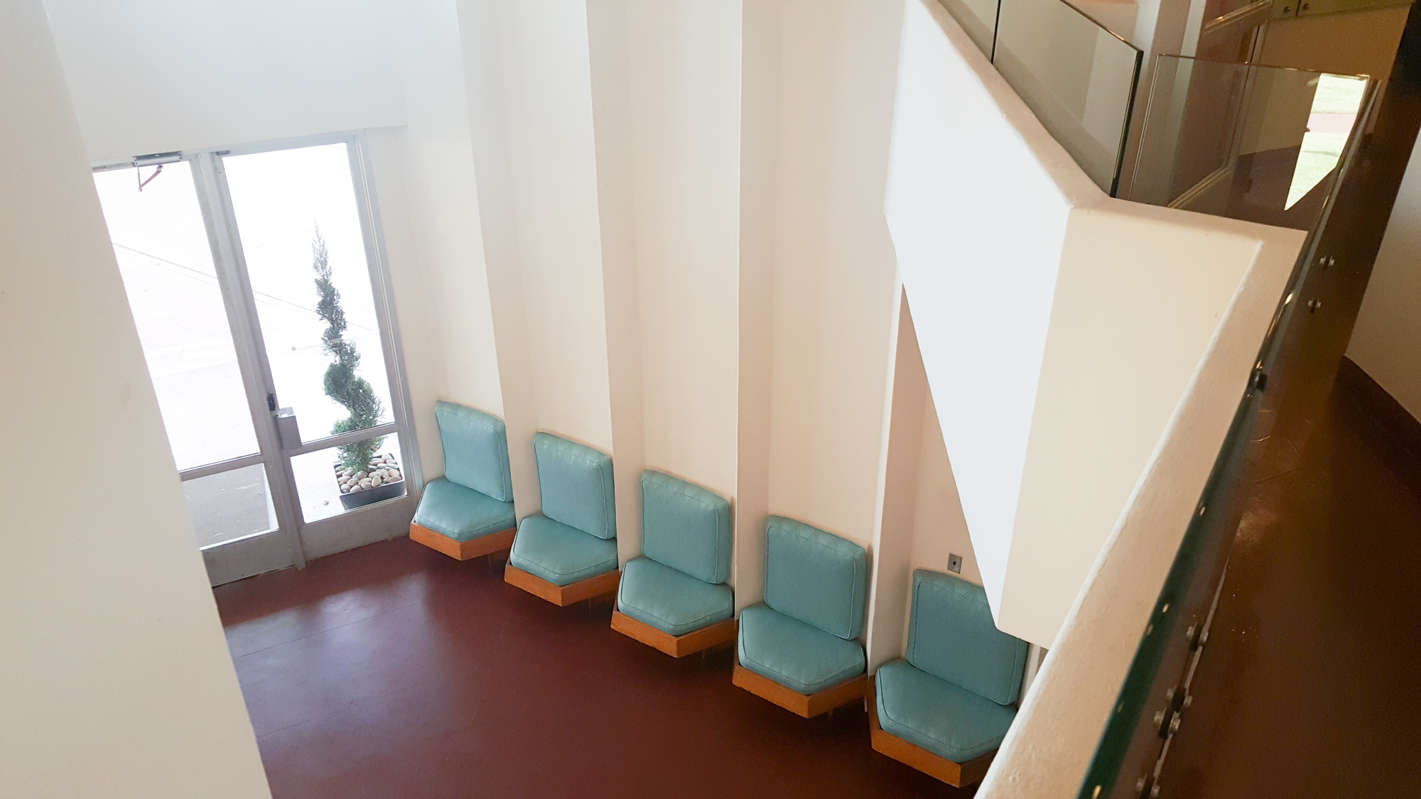 Looking down into the lobby of the Price Tower.