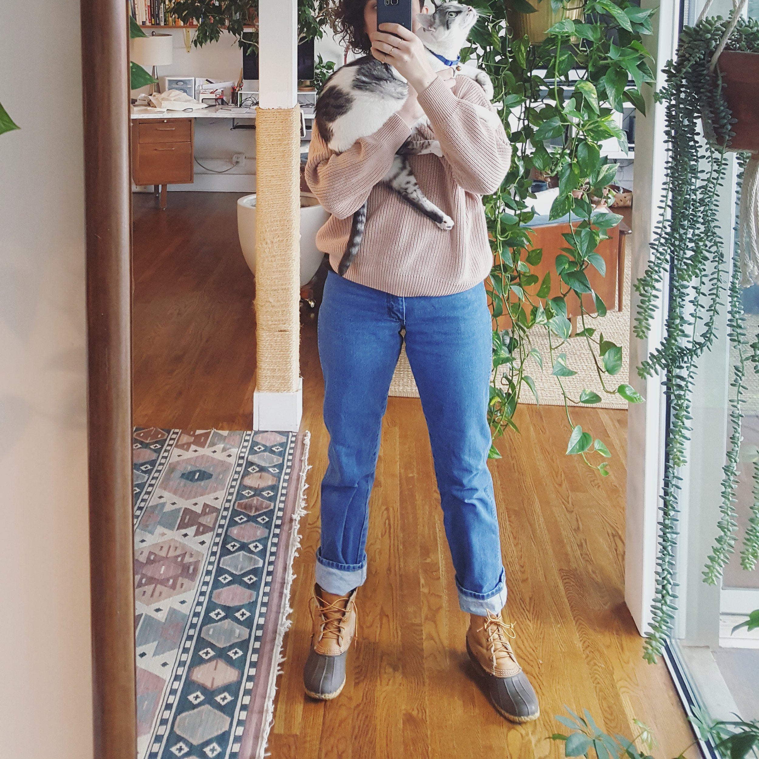 Wednesday - December 27, 2017Wrangler jeans + cotton sweater + L.L. Bean boots