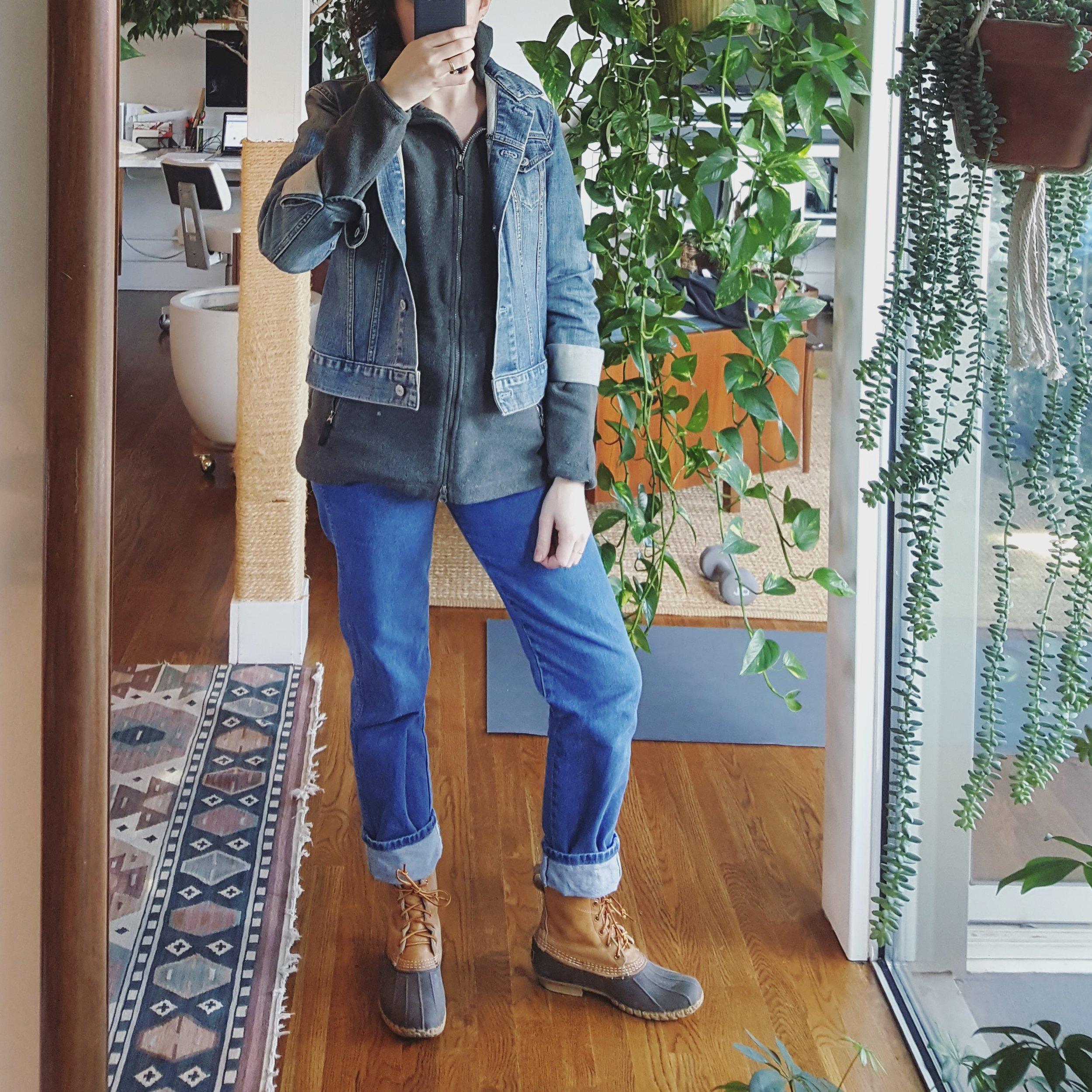 Thursday - December 28, 2017Wrangler jeans + fleece hoodie + jean jacket + L.L. Bean boots