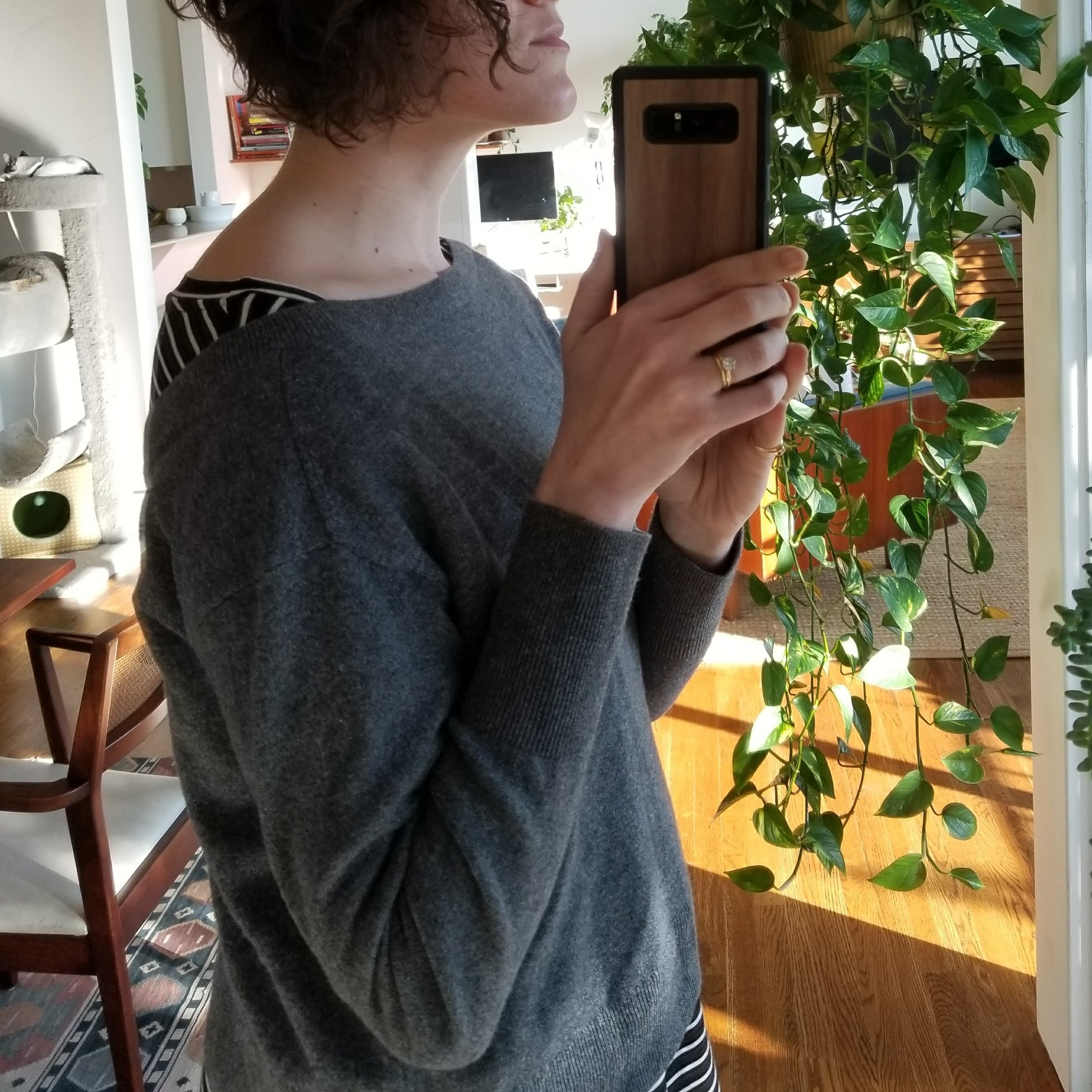 Backwards Everlane V-neck sweater over Amour Vert top. Cozy and weirdly graphic in a way I like a lot.