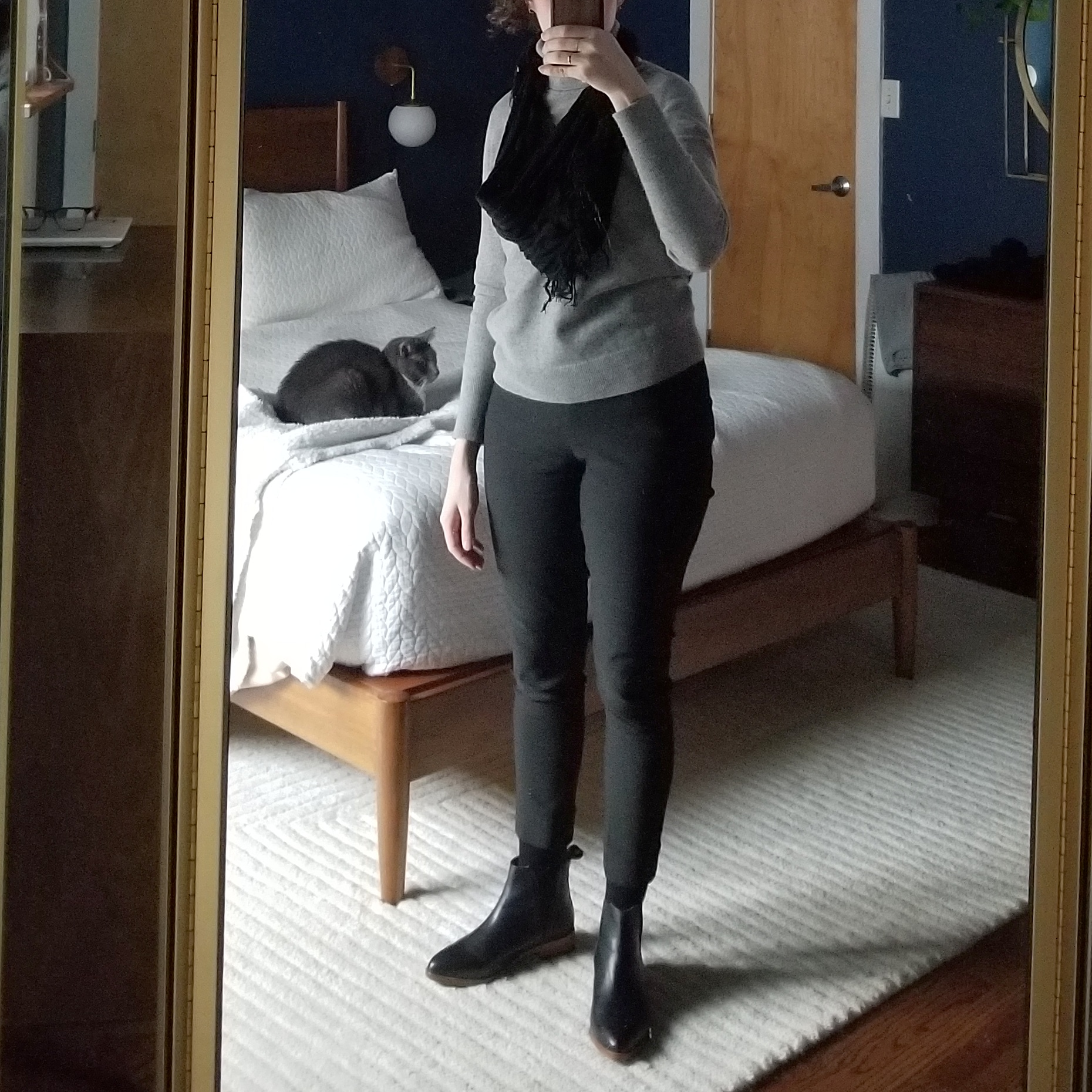 Monday - January 29, 2018Wearing these new-to-me Nisolo chelsea boots for the first time since getting them from the cobbler this weekend. They are a little snug in the toes but not uncomfortably so. The ES cecilia pants I'm having second thoughts on now that I've worn them out and about several times. I can't get over the tightness in the calves! It's fine if I situate the pants while standing, but if I sit down then stand up they get caught up at the knees and I find myself wanting to tug the hems back down. Considering selling or trading.