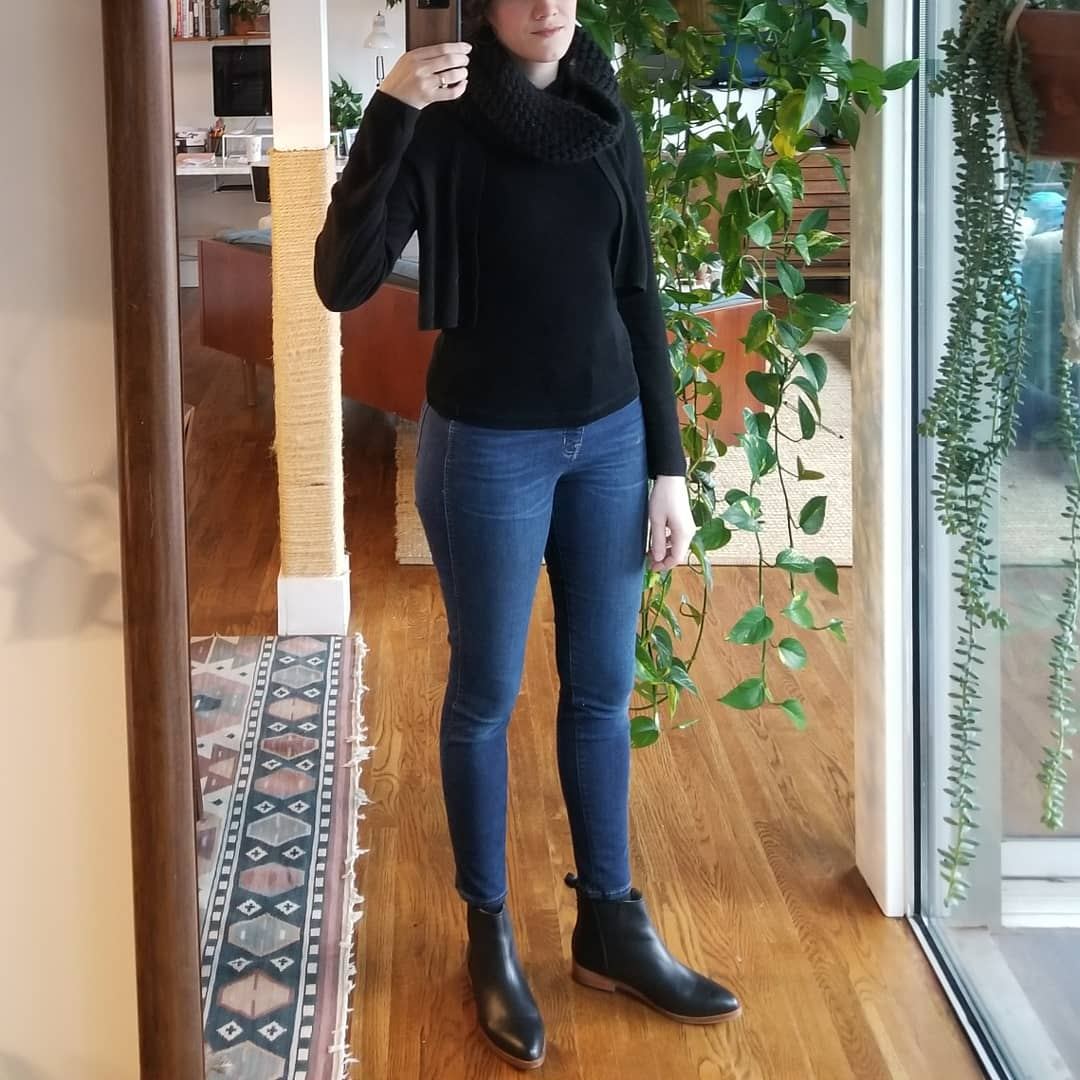 Sunday - February 4, 2018I'm really digging this outfit. I wore this to drive up to the suburbs to have lunch with my dad. It's the inky black top from my mom, my go-to black wool cropped cardigan, the wooly neck thing from my sister, Madewell skinnies, and Nisolo chelsea boots. It's like, black, but not too black — I think the denim saves it. I like that the different pieces could almost become one black garment but also the textures and layers stand out as their own thing.