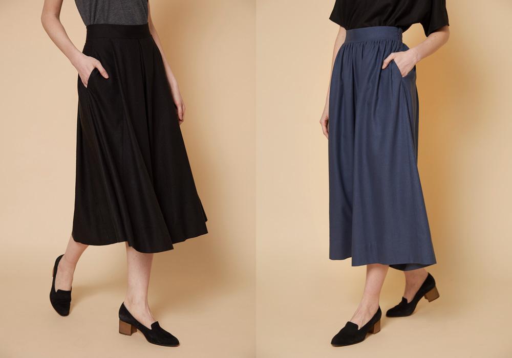Left, Megan Huntz Nat midi skirt. Right, the Annie Wide Leg culotte.