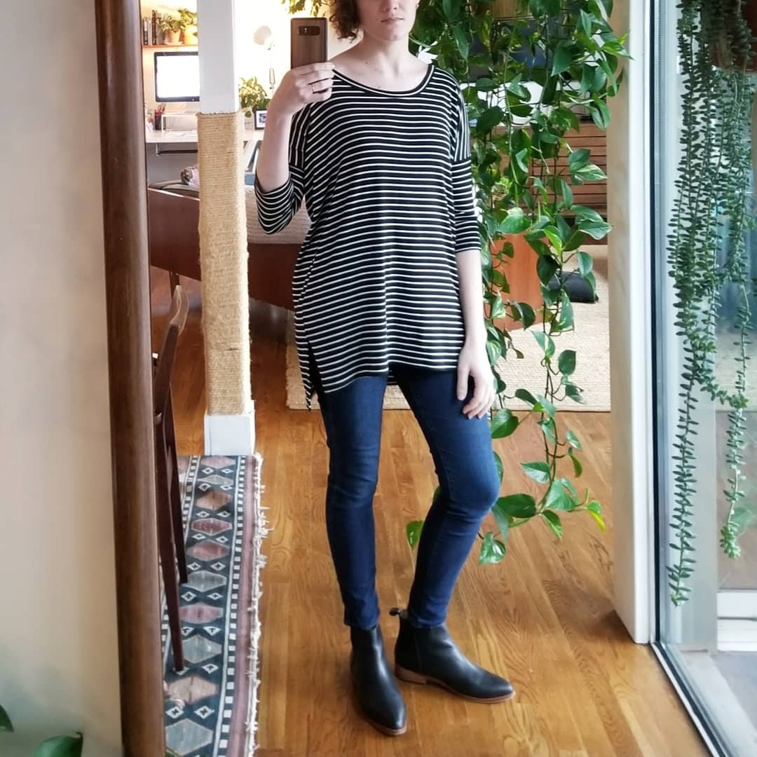 Tuesday - March 6, 2018Today is the first day of the shower renovation! I'm working from home the rest of the week to babysit the contractors who are in and out of the condo. This is a total outfit repeat. It's so simple — boxy stripey top, skinny jeans, Nisolo boots.