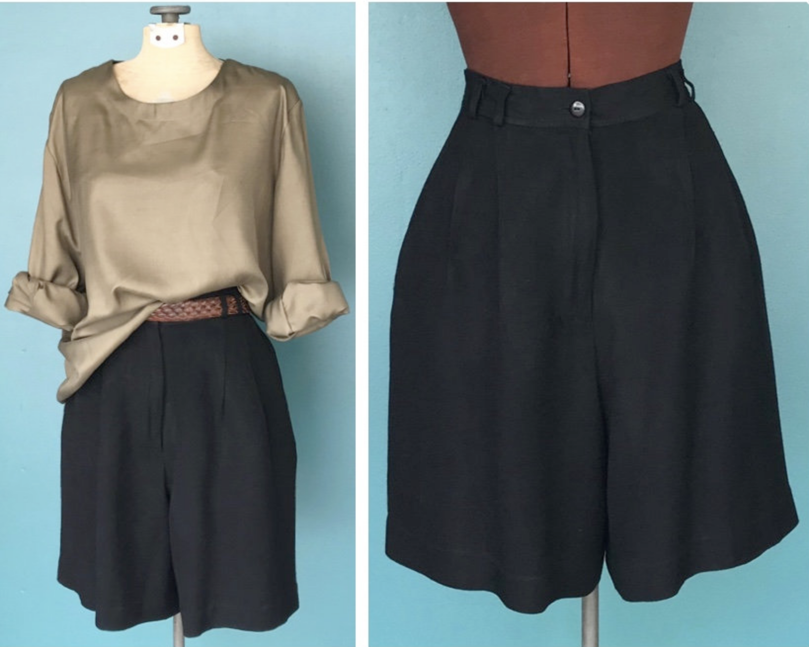 Black Rayon Shorts $41 - These seem more wearable than the other black pair. Reminiscent of the ES florence shorts, very floaty. Minimal double pleats here and a nice wide, blousy leg. Far less utilitarian than either of the above pairs.More classy. Would they wrinkle though?