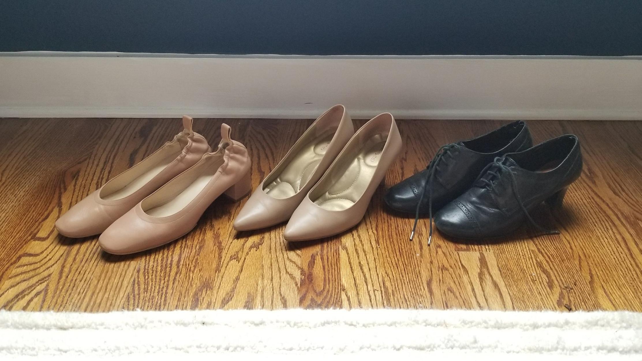 L to R: Everlane heels, pointy stiletto pumps, Etienne Aigner oxford heels.