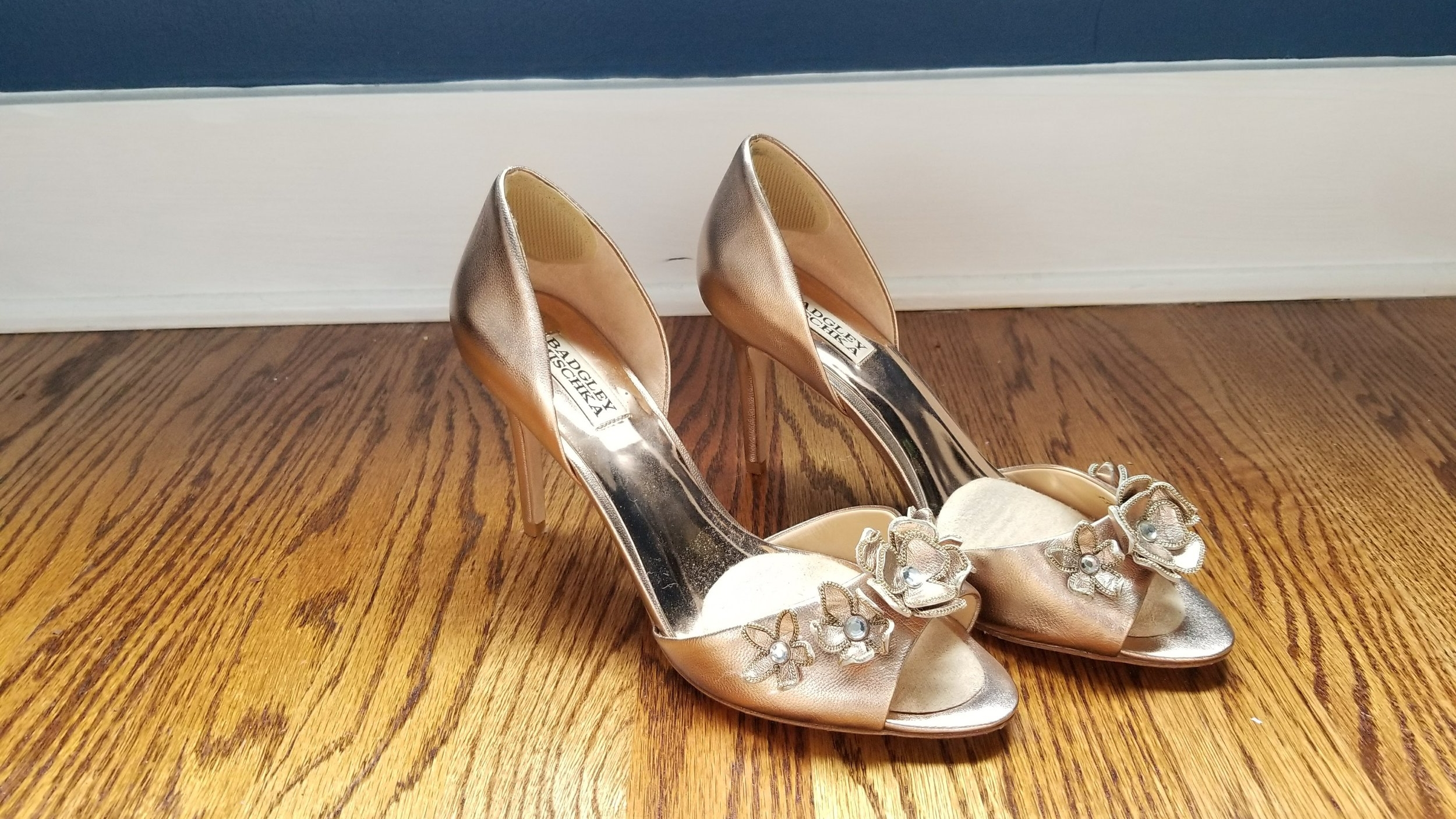 Ah yes, the wedding shoes. They are a work of art. But I imagine NO future where I have occasion to wear these again (Should I just invent one??). I knew that going in but couldn't resist how perfect they were with my dress.They live in a dustbag in my shoe care drawer. Would you keep them? Or sell? Honestly if they had a block heel I might wear them again. Do you think it's worth seeing if my cobbler can make a switch? Probably not worth it.
