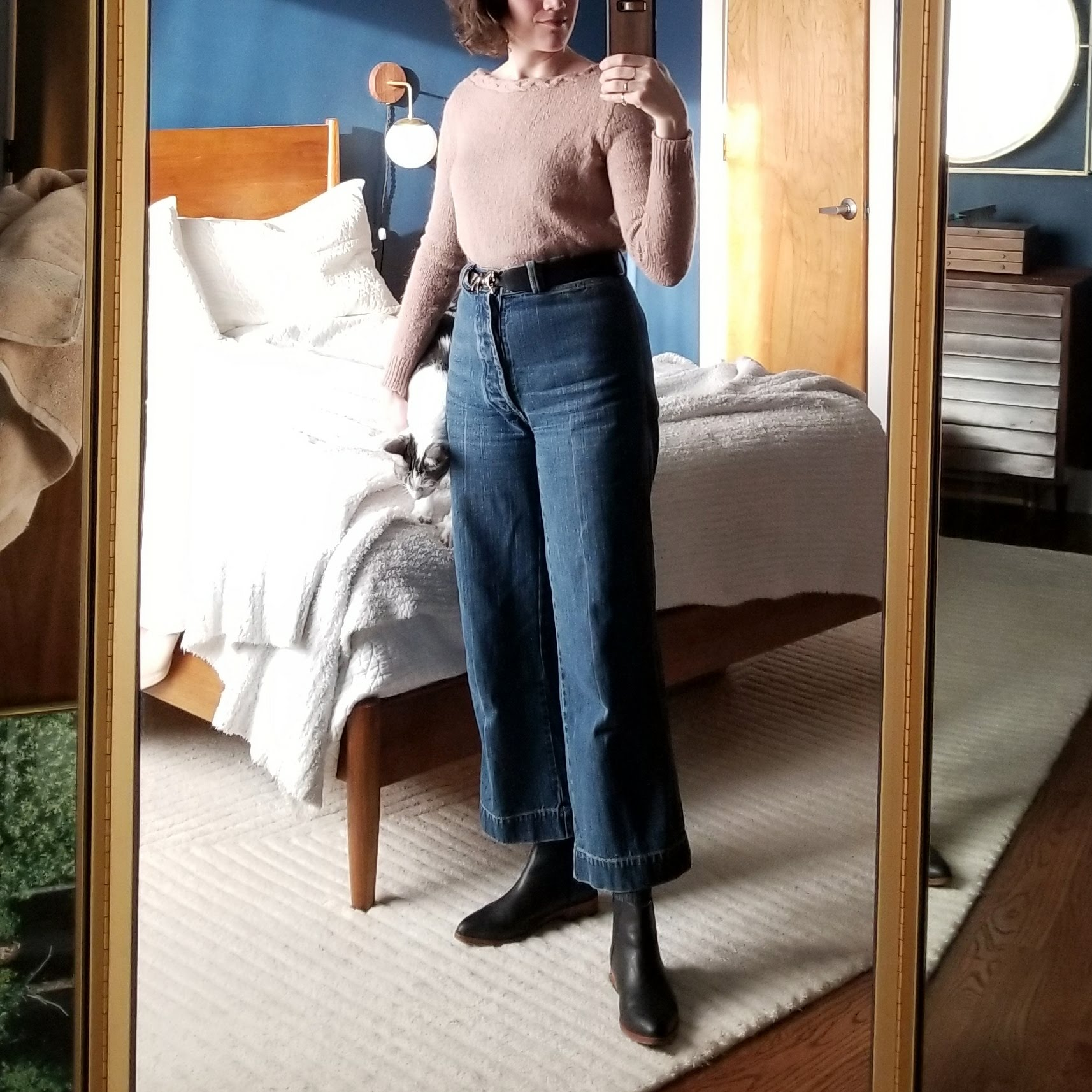 Friday - March 23, 2018Wide leg jeans again because I wanted to wear this sweater tucked in to something more exciting. I love how these jeans make basically anything look good.