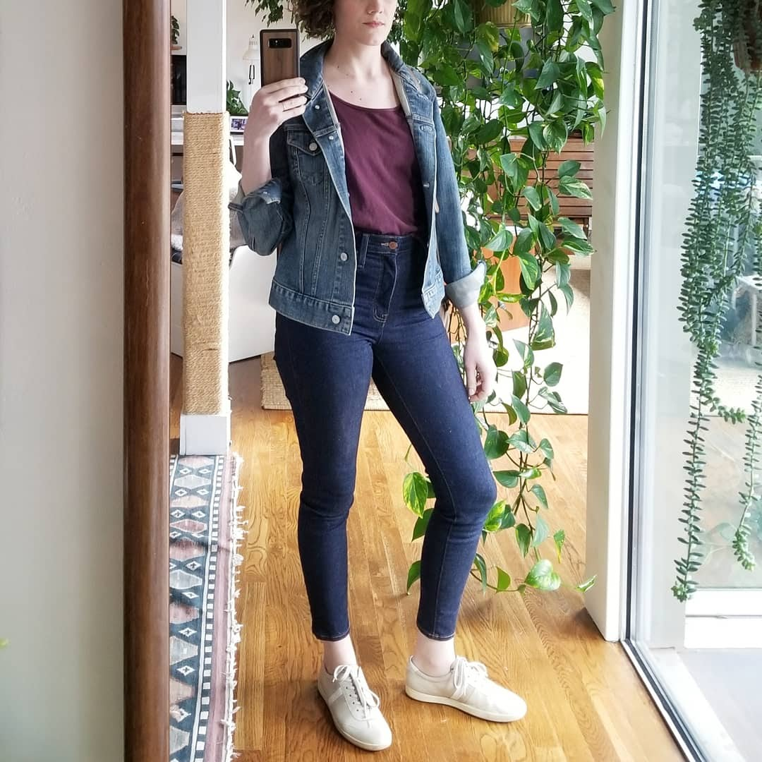 Thursday night - March 29, 2018Went out to meet friends who were in town for a baseball game, so I changed into sneakers and a colorful top for a bit of a sportier, more thoughtful look. I'm a big fan of denim on denim. This jean jacket I picked up at a thrift store in Buffalo, New York circa 2010. It's originally from the Gap.