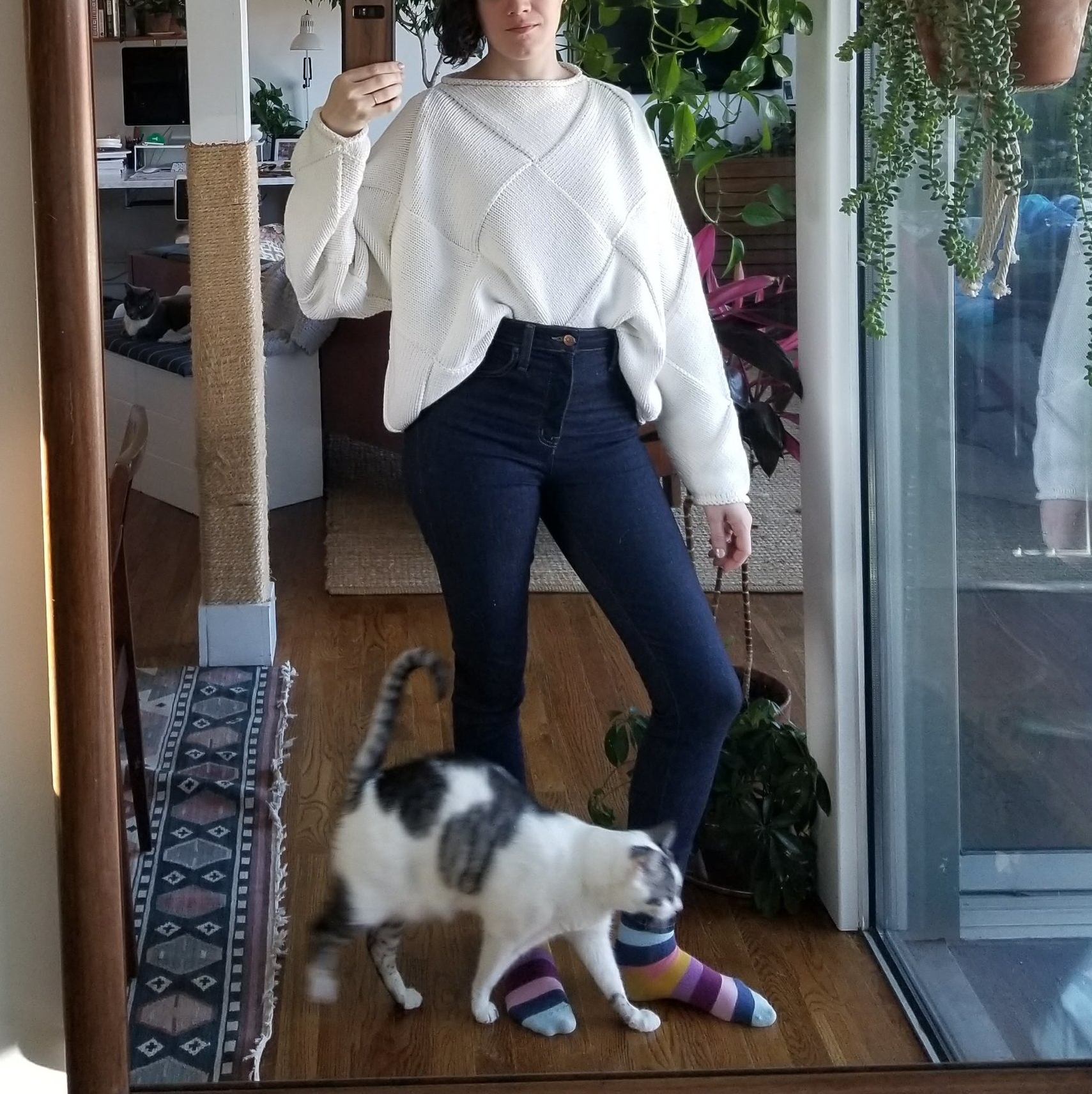 Thursday  - April 5, 2018Work from home day! Is the chunky sweater front tuck too much? Might be a bit much. But I'm still loving this Lauren Manoogian sweater. It's a cotton/wool blend, which I've never tried before. Generally 100% cotton sweaters feel useless to me — not warm enough to bother wearing a sweater. But this is 80% cotton, 20% wool, and it's honestly the perfect spring weight. It was in the low to mid 60s, and I wore it without a jacket going outside to meet contractors and felt plenty warm but not overly warm. We keep the thermostat around 66 or 68 in the winter, so it's also nice for indoors. I had a tank top underneath.