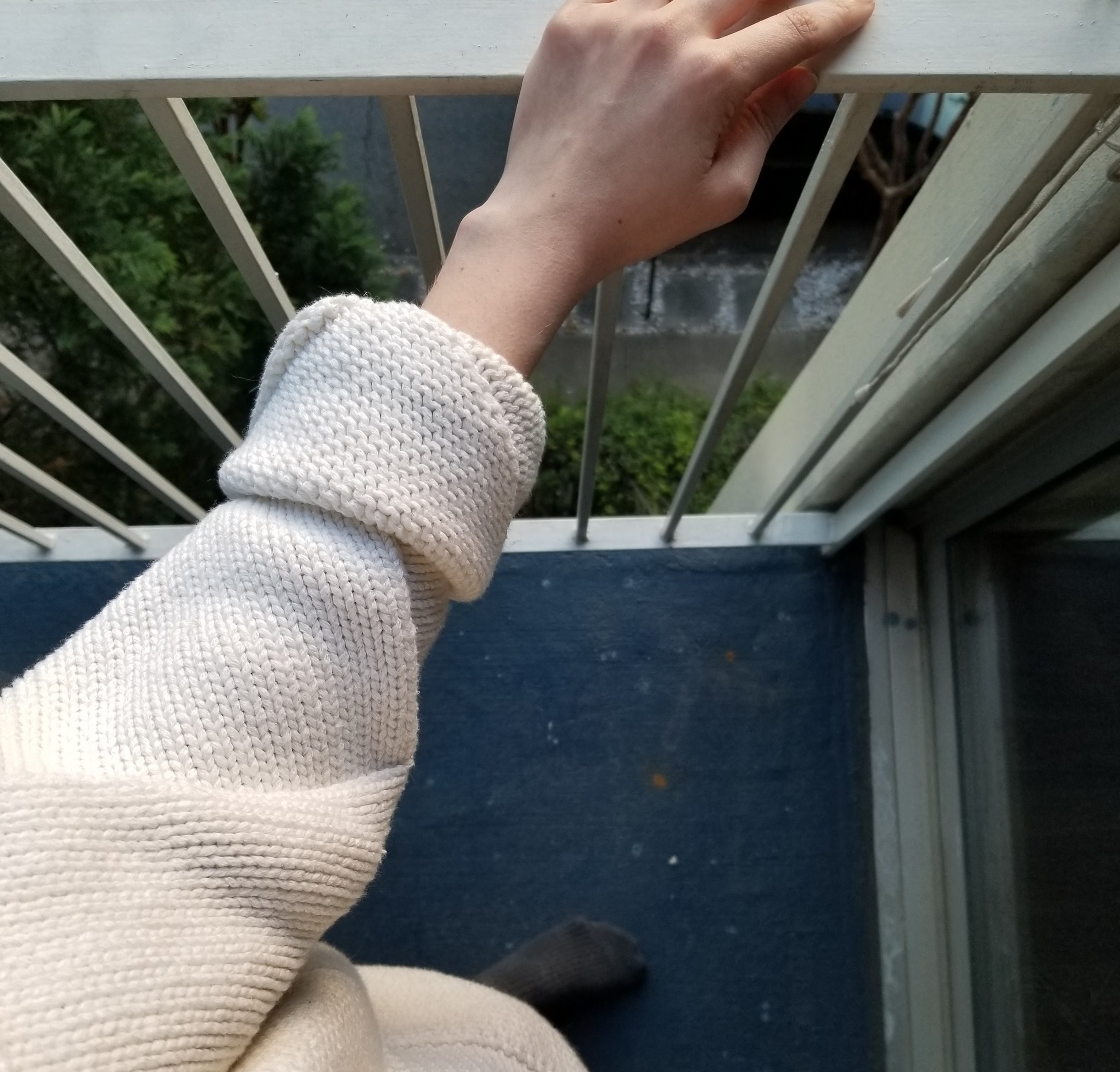Lauren Manoogian entrelac sweater. Beautiful purl stitches showing on the inside of the cuff.