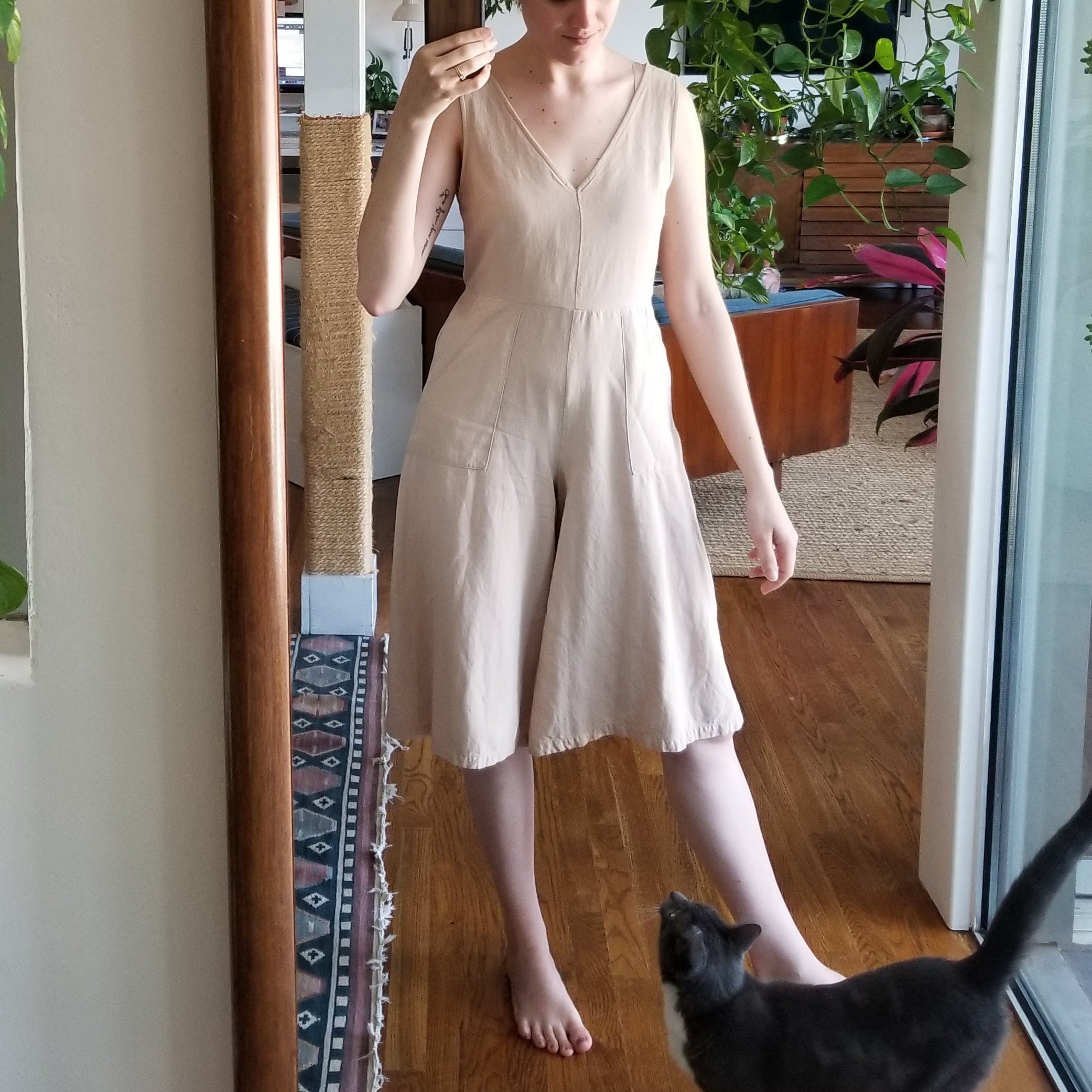 Thursday - May 3, 2018I love this jumpsuit/romper. Wrote about it last week here, but basically I'm delighted by how the color blends with my skin tone. I love the floaty but tailored silhouette too — so often it feels like jumpsuit designers default to baggy baggy baggy, This one has a back zip so it can be more fitted.