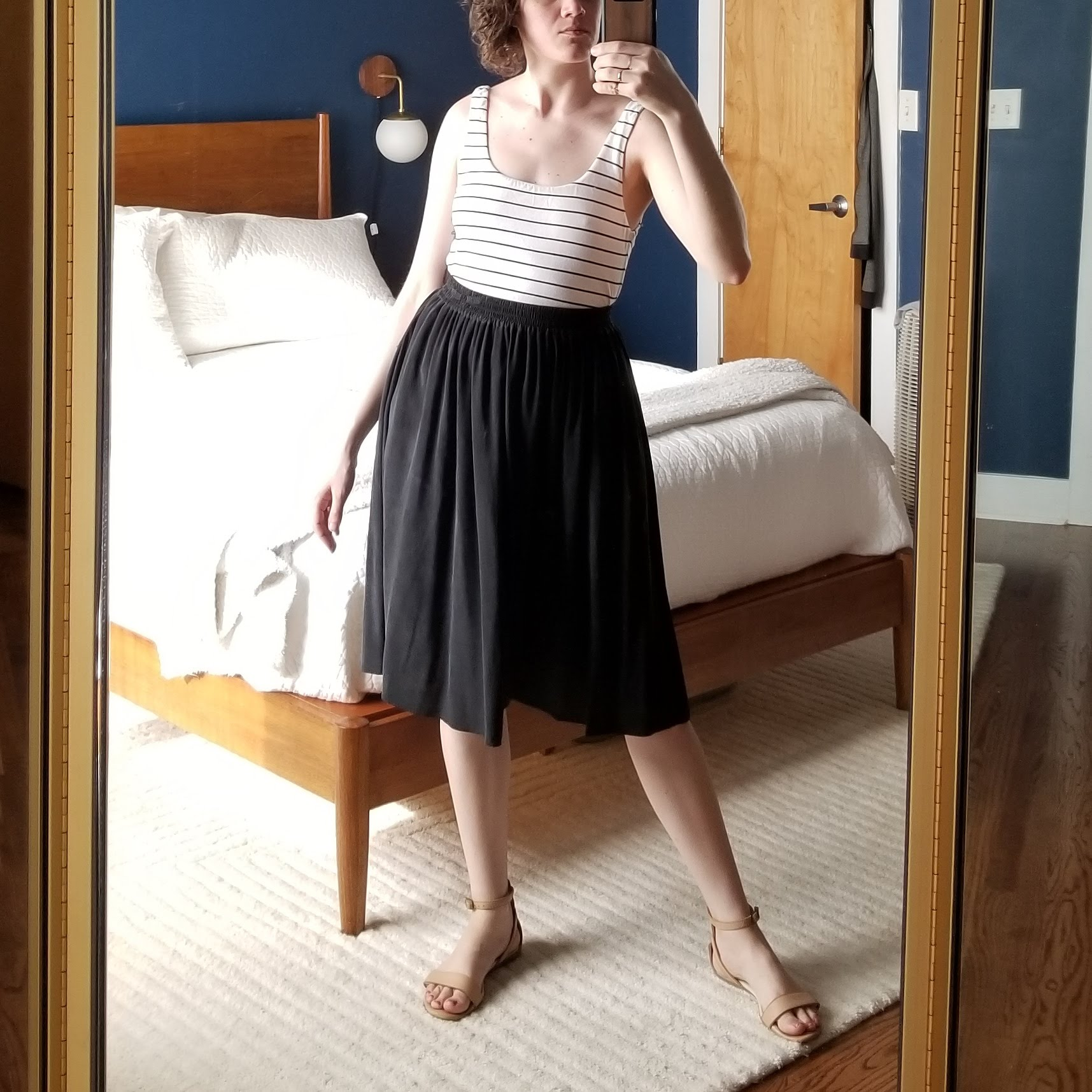 Saturday - May 12, 2018Black silk skirt no. 2. This is the a-line skirt from Grana. Pockets! A little shorter, and thinner material. More playful?
