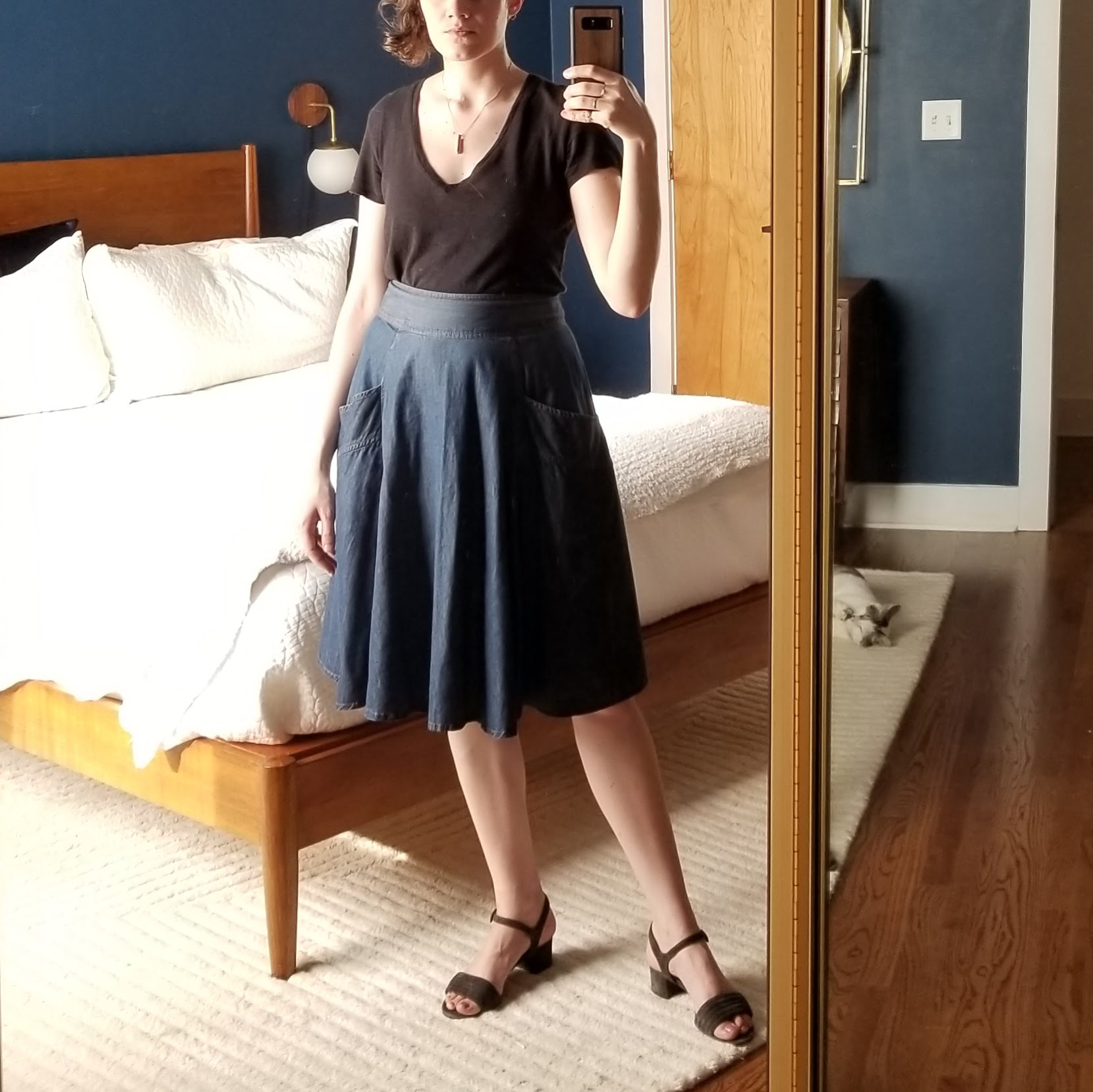 Monday - May 14, 2018Bolstered by the success of this skirt last week (Tuesday, May 8, 2018) despite it's more threadbare edges, I wore it again with a black tee and this time with block heel sandals. It still felt summery, easy, but styled. Am considering more seriously the idea of making a pattern from this one.