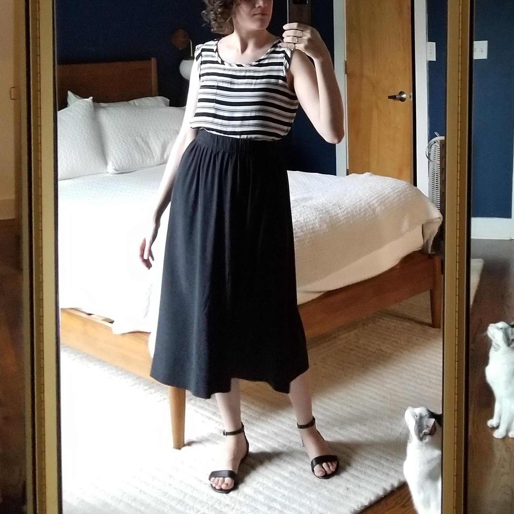 Tuesday - May 22, 2018Day two of the new-to-me black sandals. They look great with the ES bel skirt! Blousier top layer. I didn't realize just how many striped tops I own, but I wore two different with black skirts last week too. Anyway, this has a bit of a breezy feel to it, and it matches Stuart.Shirt / Loft (1H)Skirt / Elizabeth Suzann (1H)Shoes / Nisolo (2H - Slowre)