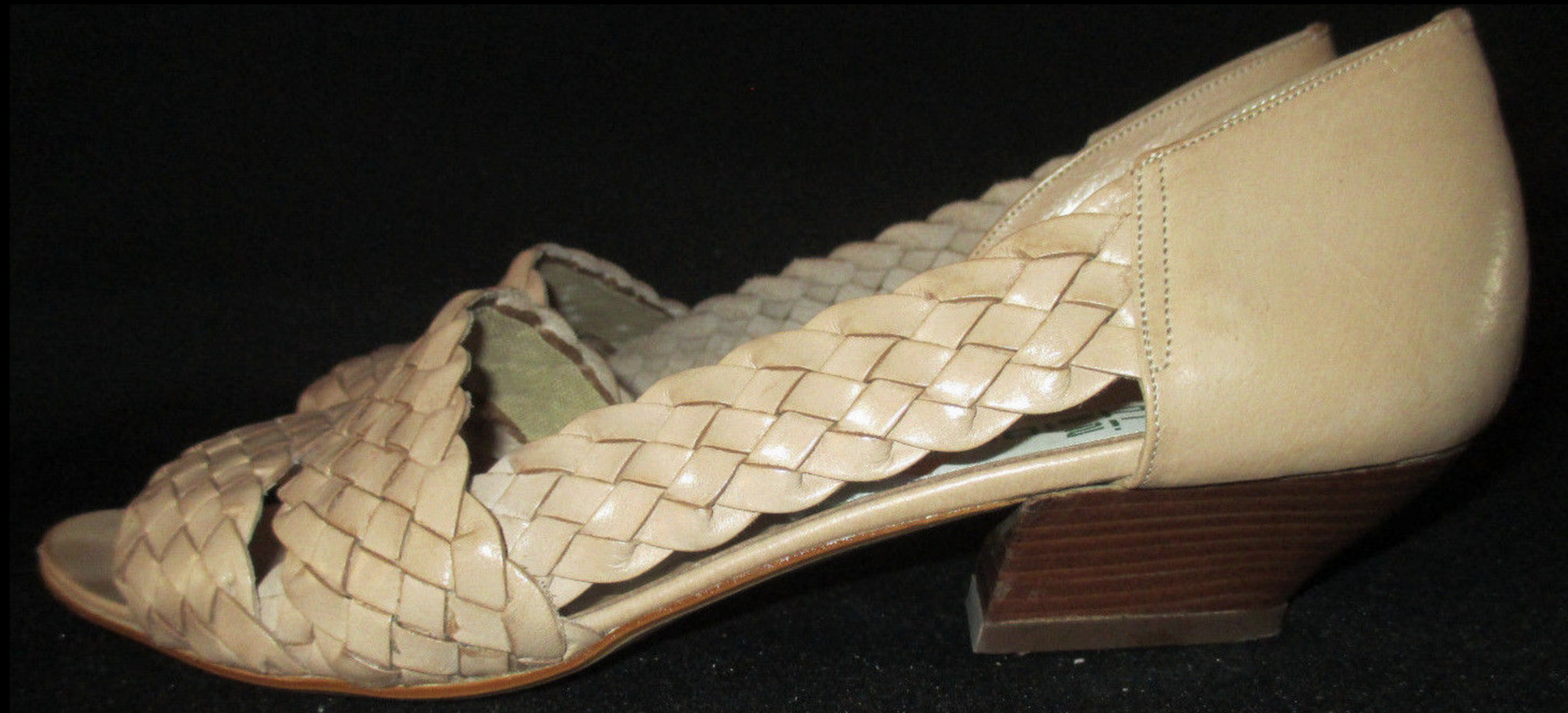 Vintage woven - OK, these are nothing like the MNZ sandals, but I like them anyway! I love woven or braided texture, and they are the right color and size. The heel is a little victorian-esque but I can see beyond that.