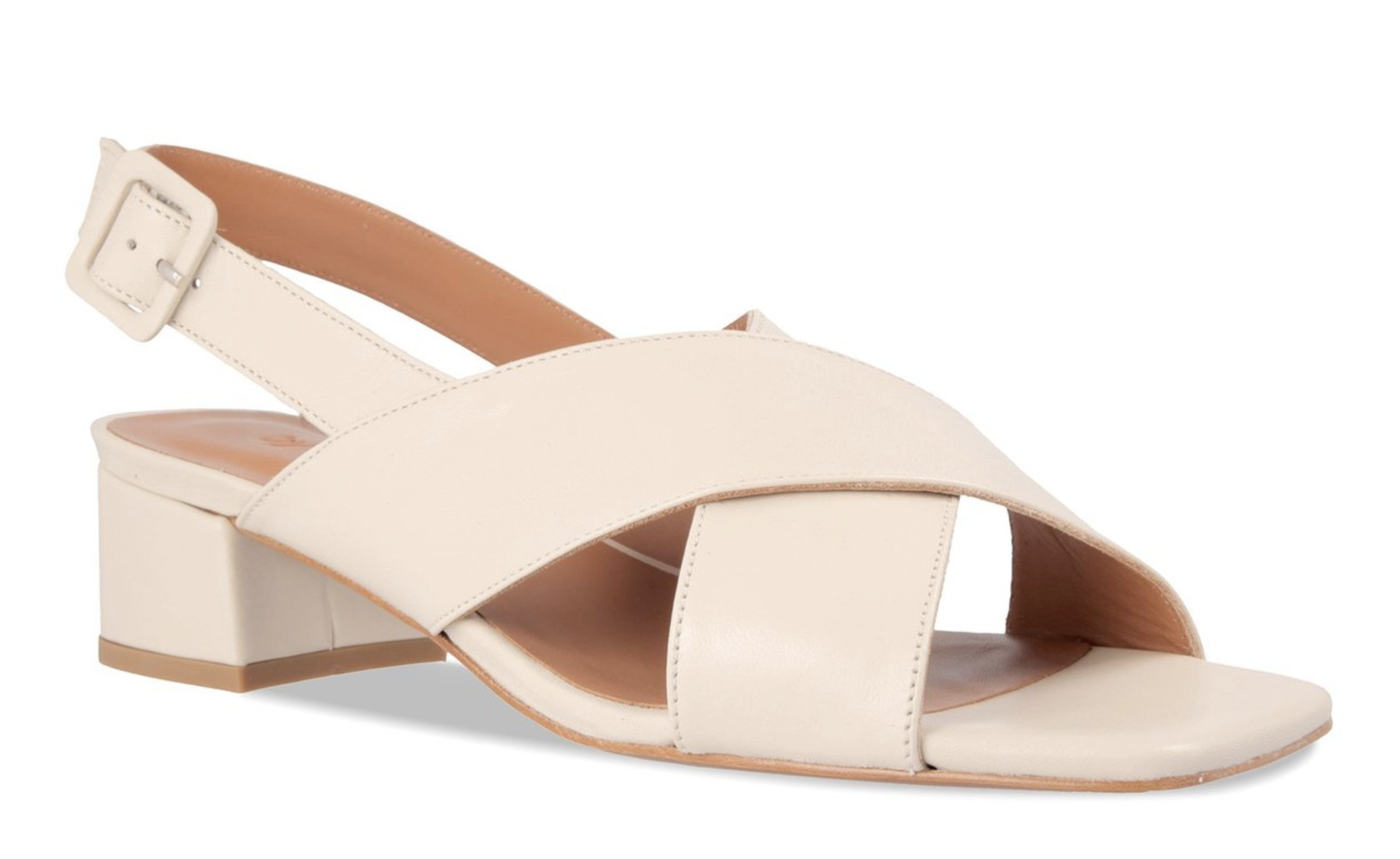 By Far - Anelia - Ooo, crossed straps are interesting. I appreciate the monochrome covered buckle too — a thoughtful detail. The color is called white and while they are def not beige, they are kinda off-white, which might work for me. These cost even more than the MNZs though, so boo.
