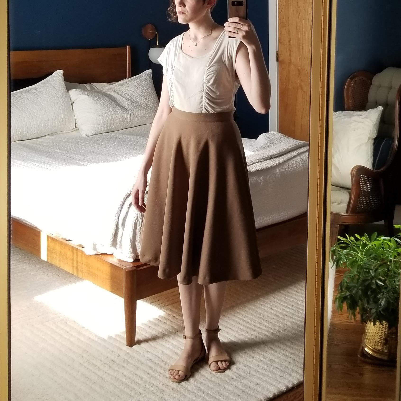 Monday - June 4, 2018This is on the dressier side of what I've worn lately. But in a break from habit, I wore my beige sandals instead of the black ones. I enjoyed the soft neutral palette and calming effect but found the skirt really hot! It has an acetate lining, which normally linings are great and a mark of quality, but maybe not so great when its 90 degrees out. Think I'll retire this skirt for the summer.