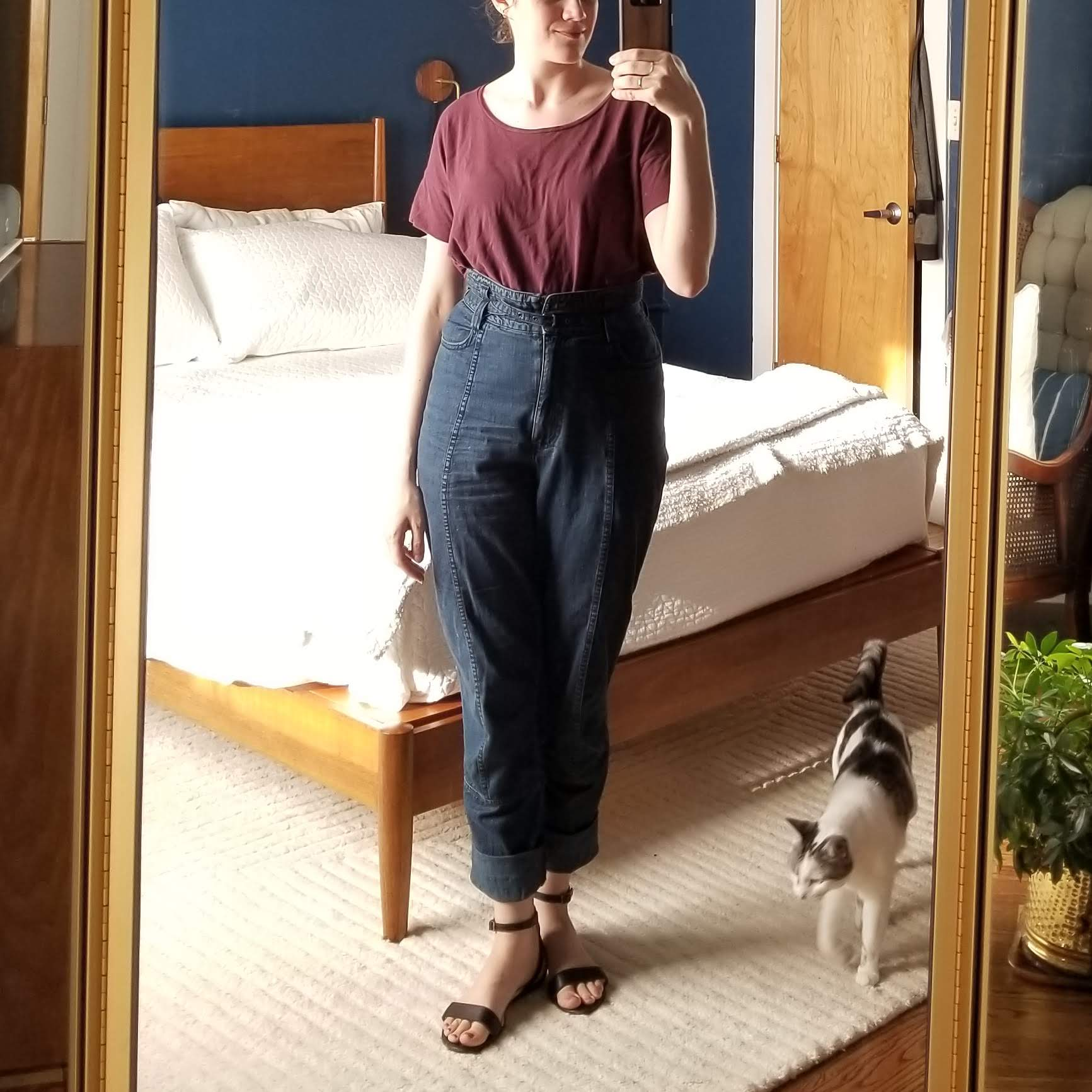 Wednesday - June 6, 2018Although I've worn this look a lot, I felt kind of drab and slouchy in it today. Not sure what was going on, might have been an off day in general. I'll try pairing these pants with a fitted tee next time.