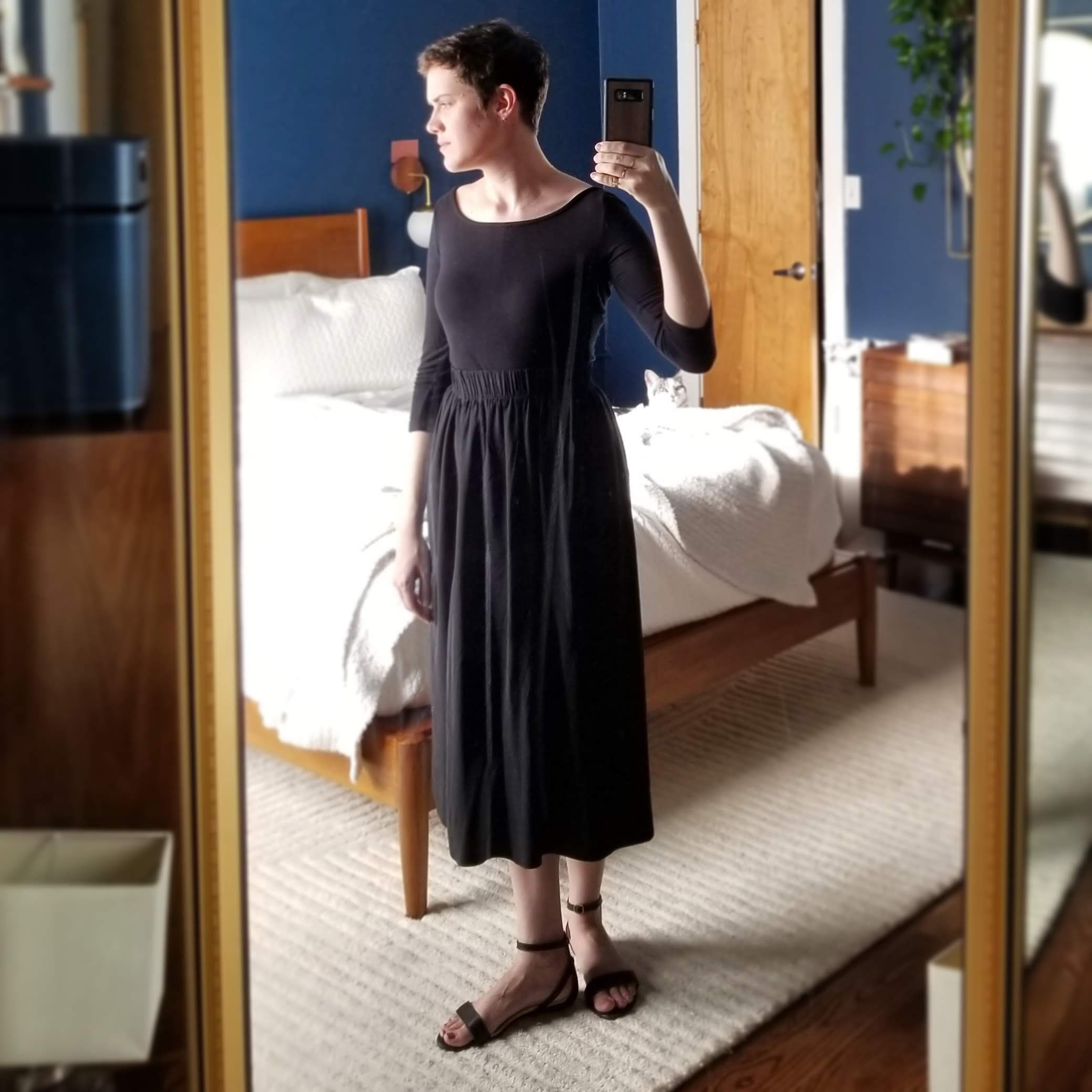 Monday  - June 25, 2018I love this faux dress look. The key to pulling off this look is getting the top and skirt to be the same kind of saturation and tone. I don't always match my blacks, but when I do it can be magical.