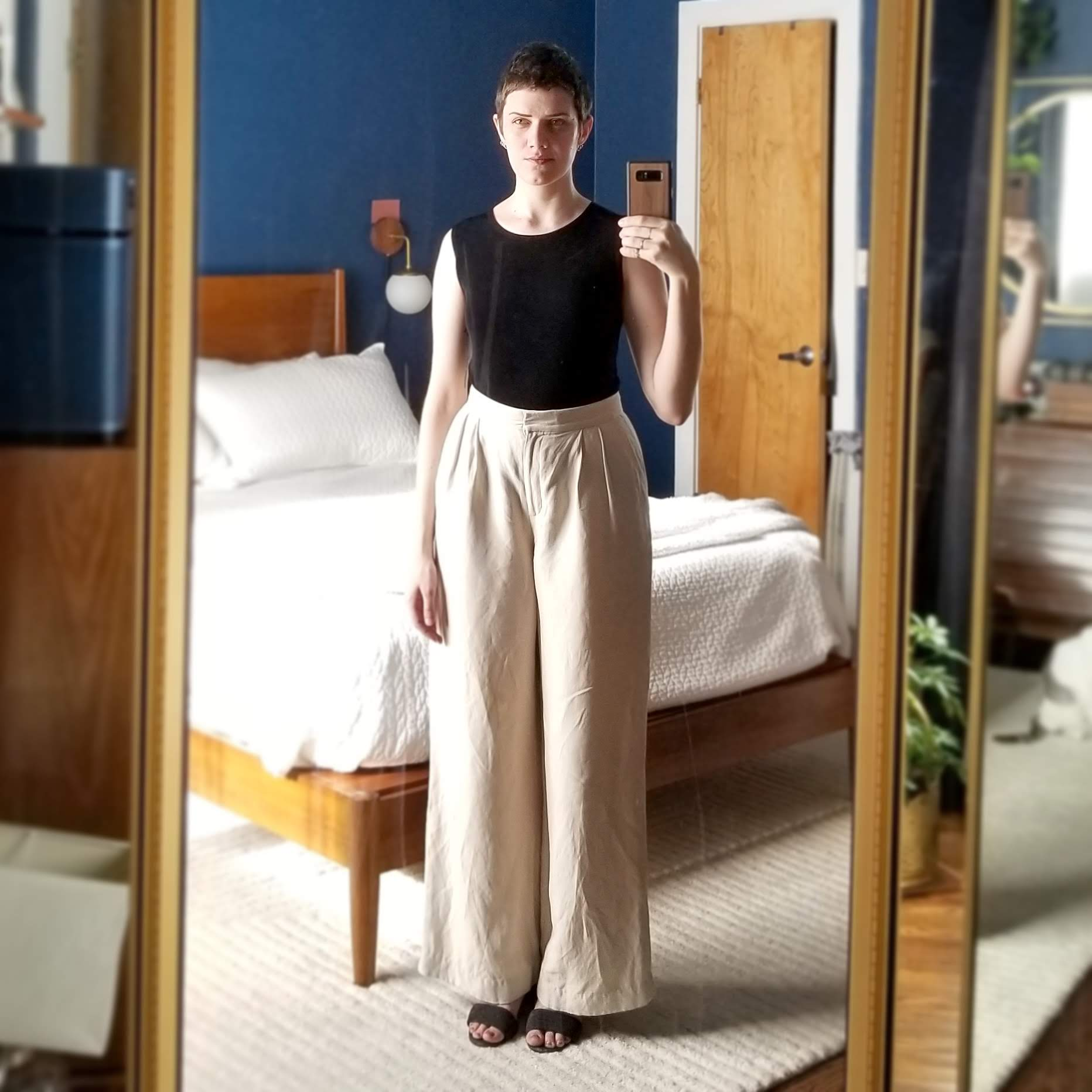 Tuesday  - June 26, 2018Went a little polished today with my inky black sleeveless top and linen-blend trousers from Ann Taylor. I always get compliments on these pants! They've been hemmed so I can wear them with flats, although I have on low heels here.