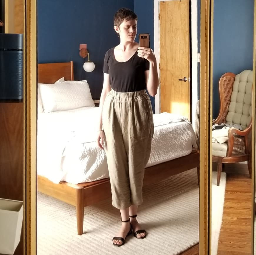 Monday - July 23, 2018I tried on three different outfits before settling on this easy one. Everything else was too fussy. I think I'm still coming to terms with the idea that I don't need to reinvent the wheel everyday! Wearing Black Crane carpenter pants, Nisolo sandals, and an old LOFT tee.