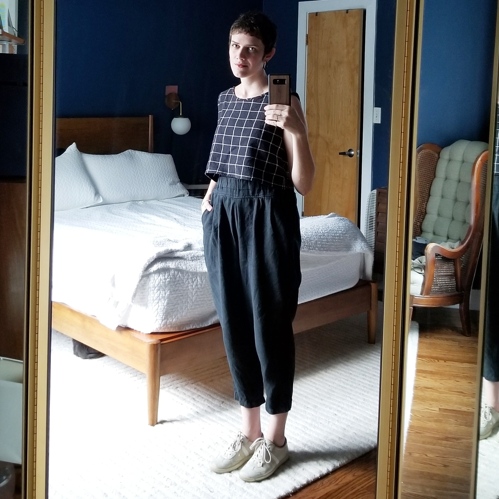 Tuesday - July 24, 2018Day two of Black Crane pants! Paired today with my me-made top. This top, made hastily the night before a 10-day vacation, has quickly made itself indispensable in my wardrobe. It's not perfect but I still love how it fits and wears! It is the perfect length to go with all my high-waisted stuff. A nice change from tucking everything in.